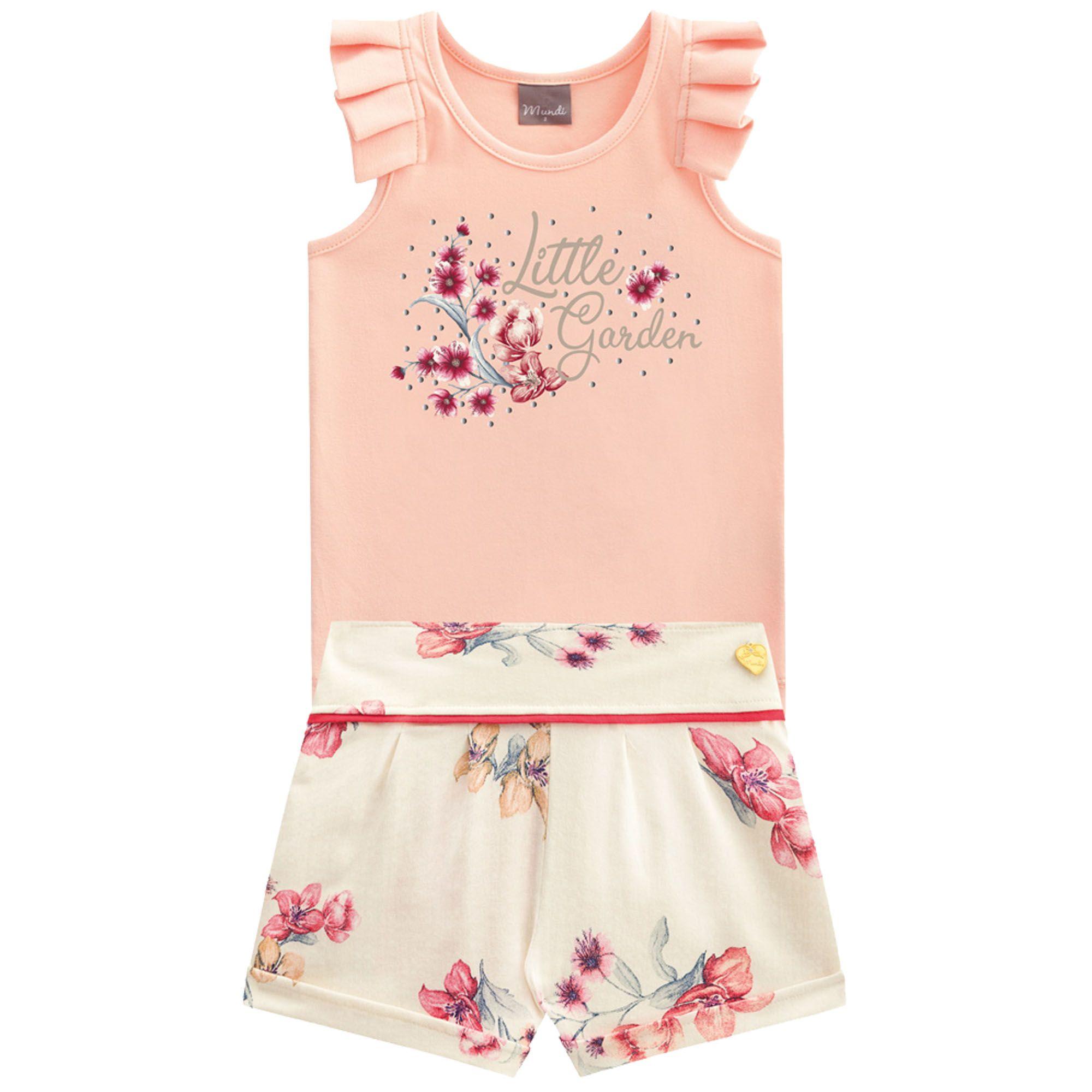 Conjunto Verão Brandili Mundi Blusa Little Garden com Shorts Florido - 4 ao 14