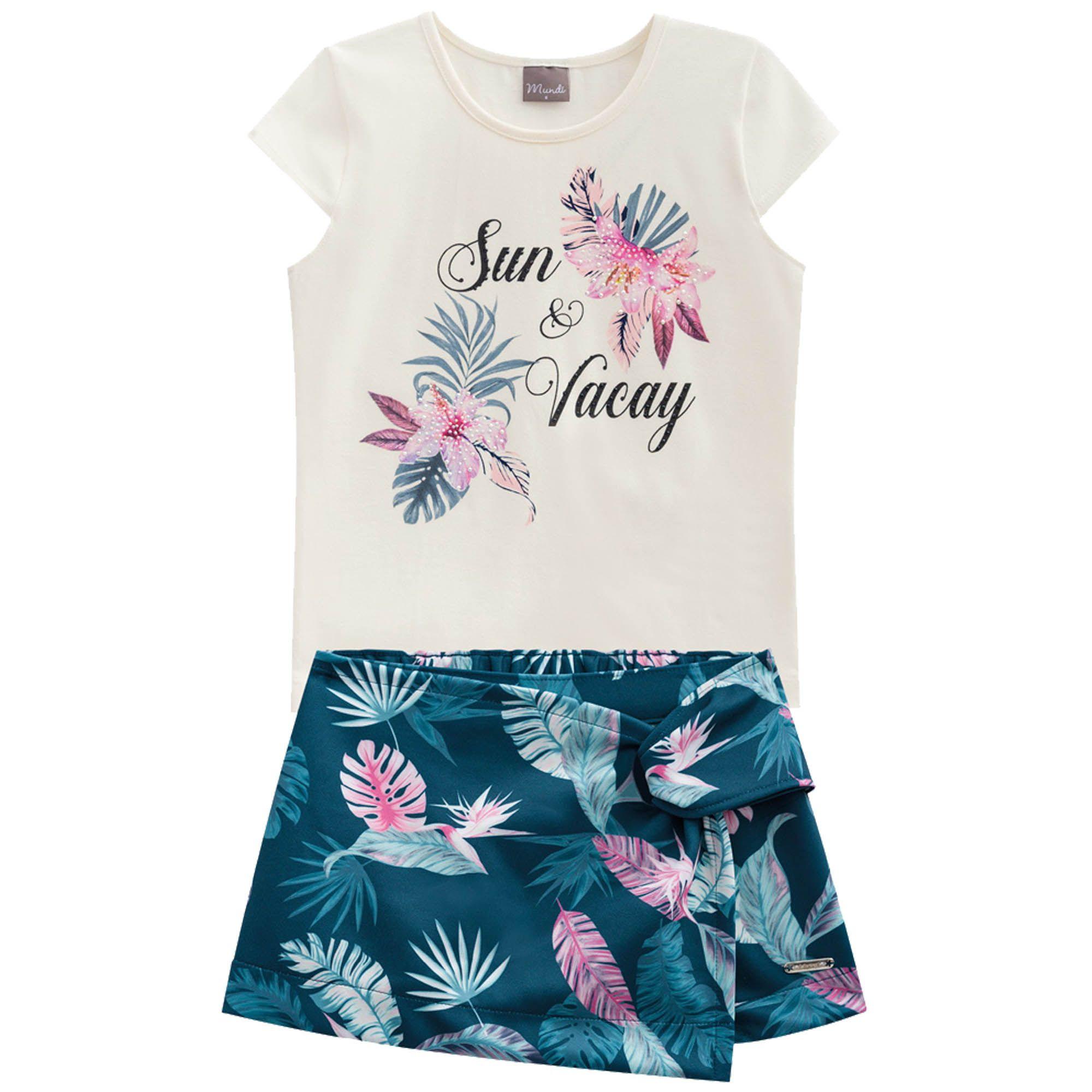 Conjunto Verão Brandili Mundi Blusa Sun e Vacay com Shorts Saia Folhas - 4 ao 14