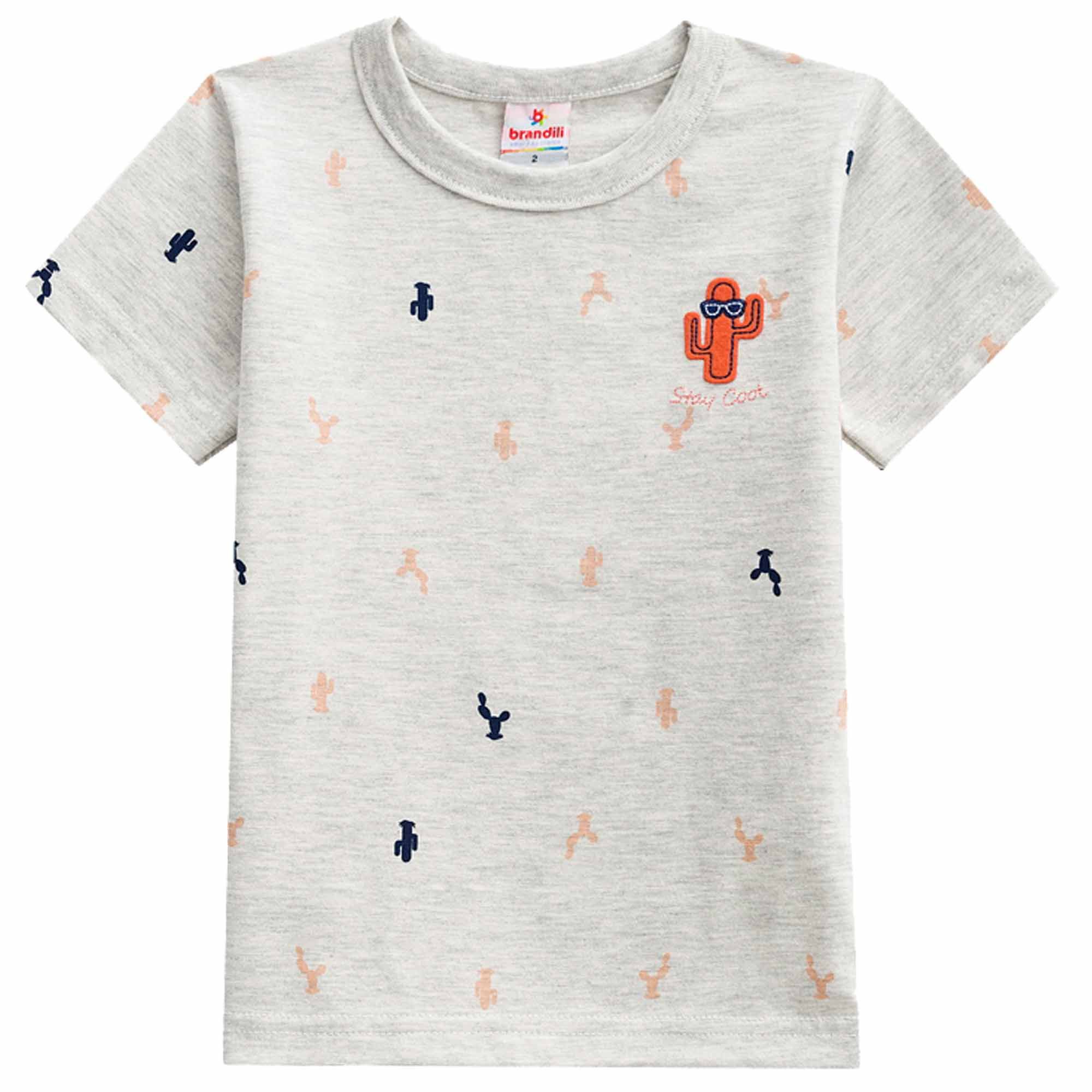 Conjunto Verão Brandili Camiseta Cacto com Bermuda Moletom - 1 ao 3