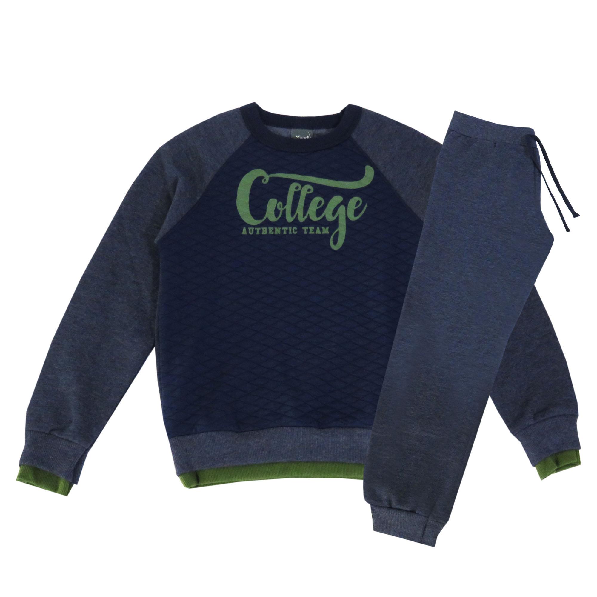 Conjunto Inverno Brandili Blusão College Authentic Team com Calça Jogger Moletom - 04 ao 14