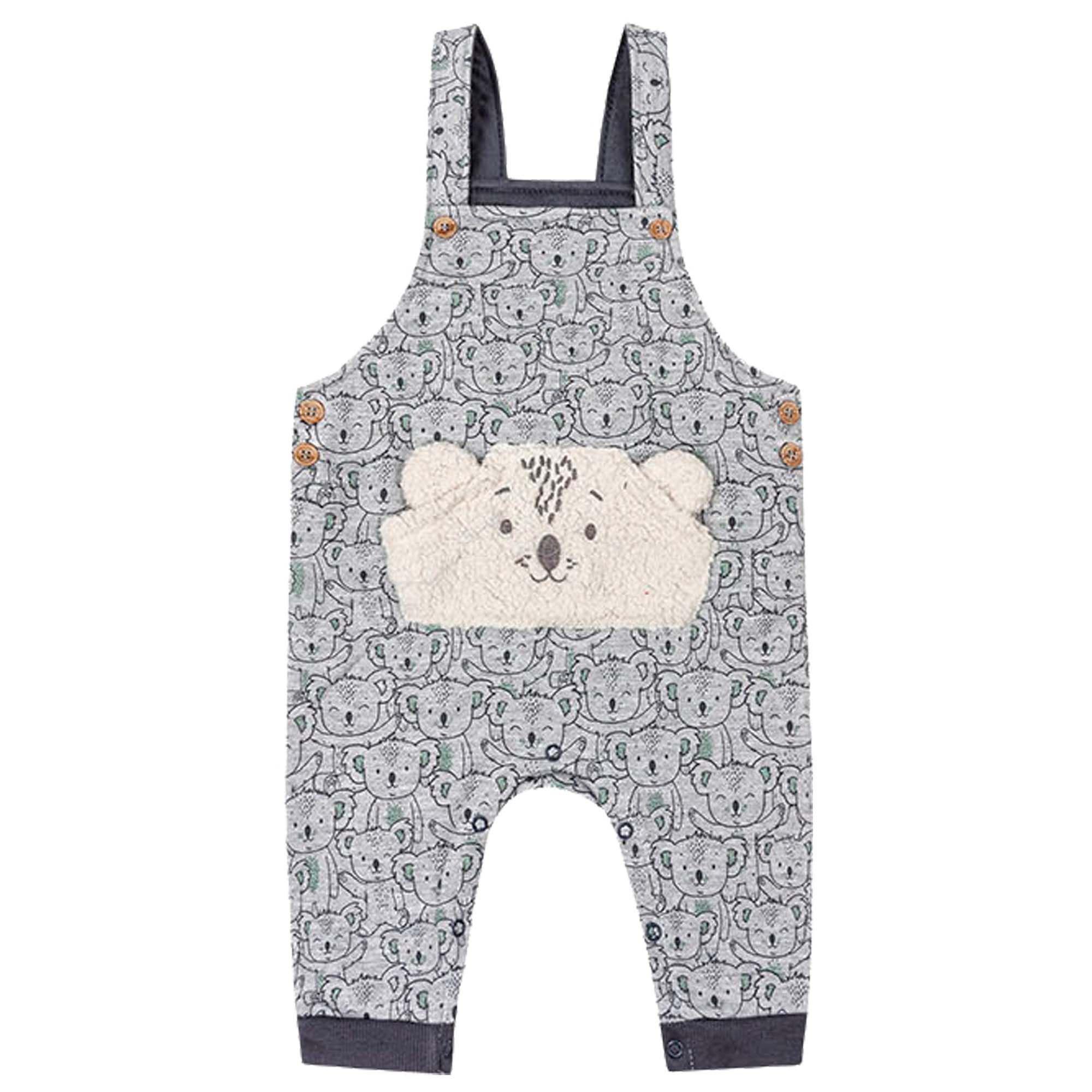 Conjunto Inverno Jardineira com Body Manga Longa Kiko Baby Urso e Listras - RN ao G