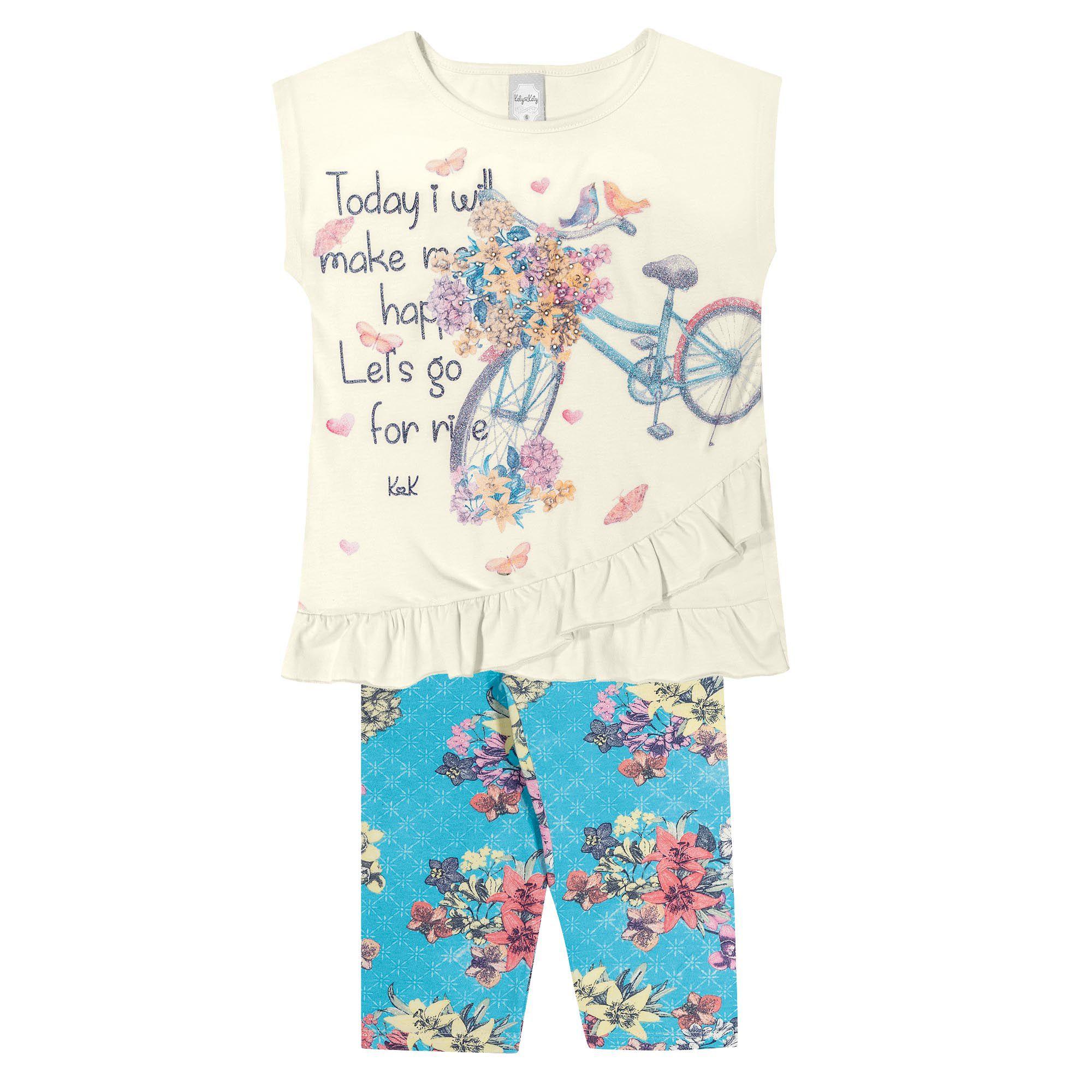 Conjunto Verão Romitex Kely Kety Bicicleta Flores - 4 ao 10