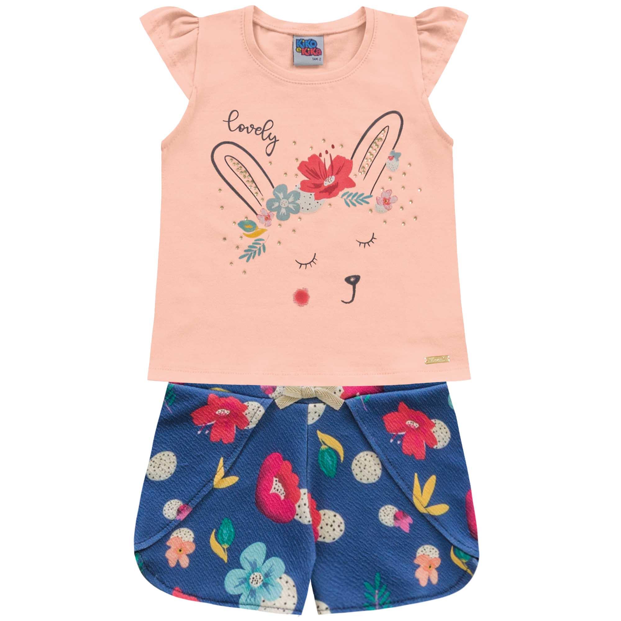 Conjunto Verão Kiko e Kika Blusa Estampa Coelha e Shorts - 1 ao 3