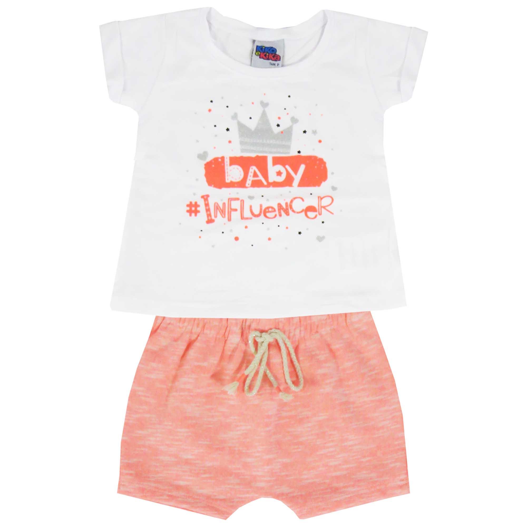 Conjunto Verão Kiko e Kika Blusa e Shorts Baby Influencer - P ao G