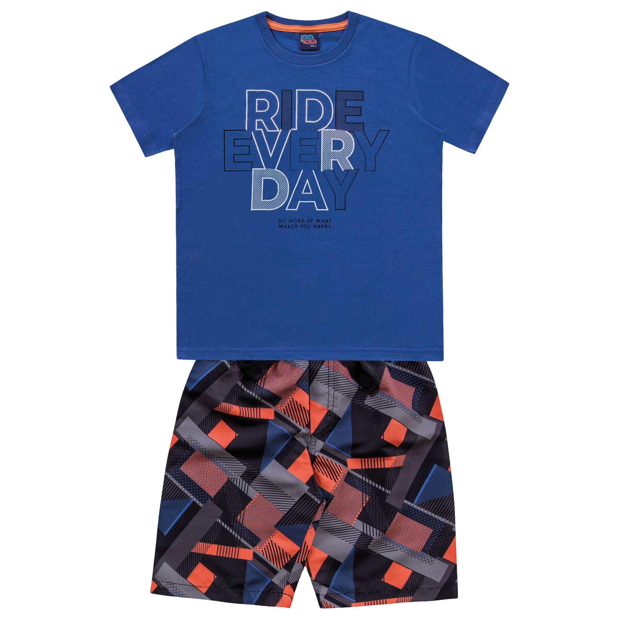 Conjunto Verão Kiko e Kika Camiseta e Bermuda - 4 ao 10