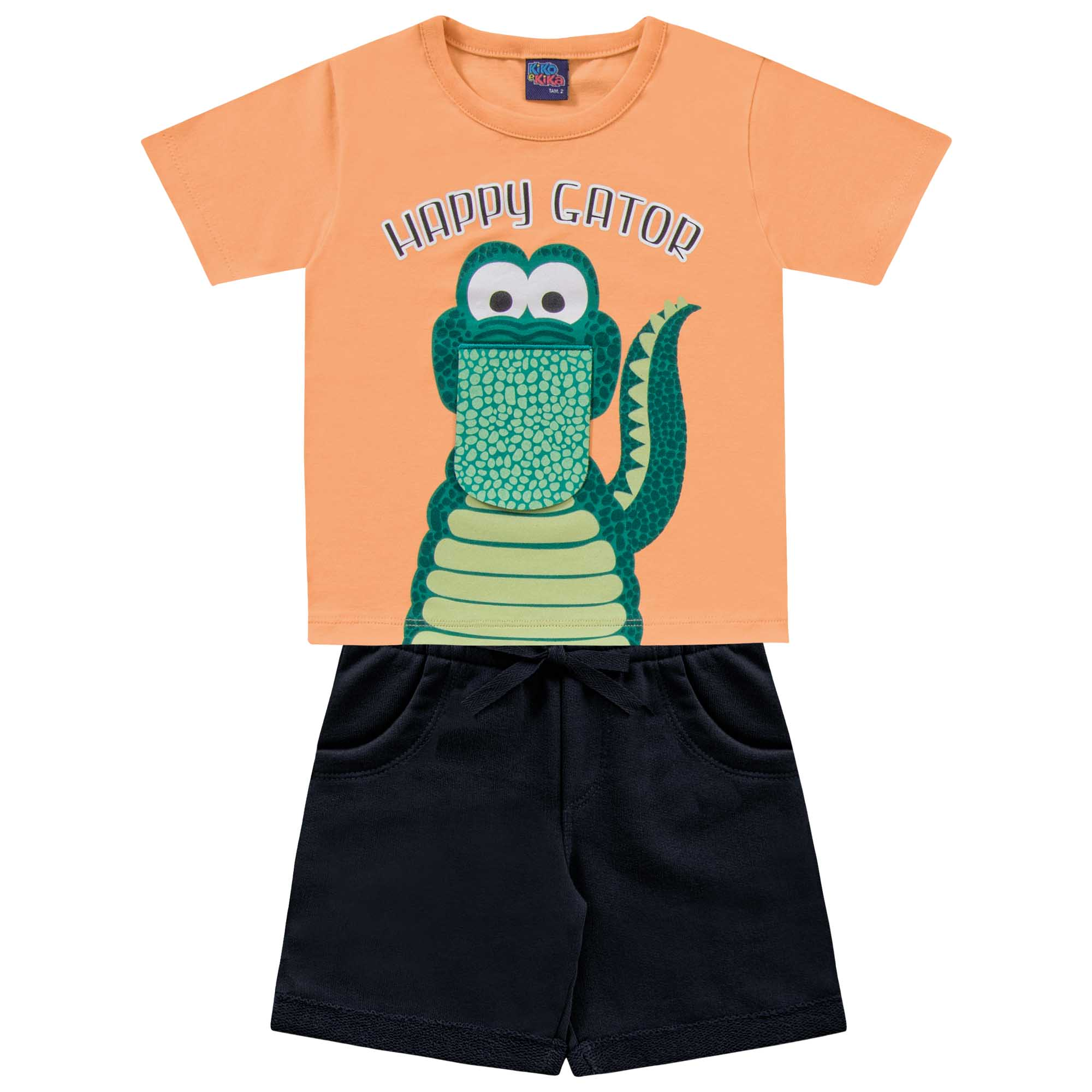 Conjunto Verão Kiko e Kika Camiseta e Bermuda Jacaré Feliz - 1 ao 3