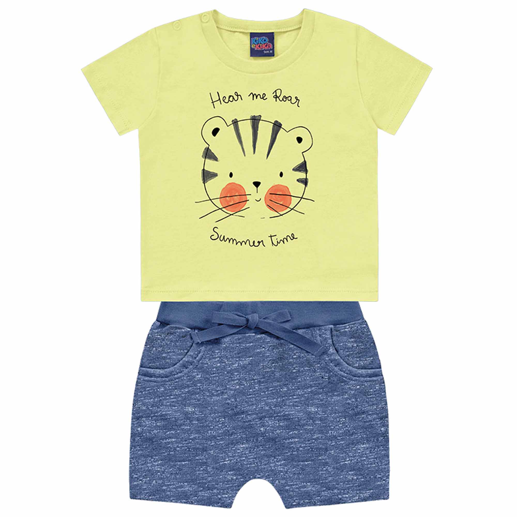 Conjunto Verão Kiko e Kika Camiseta e Bermuda - Tigre - P ao G