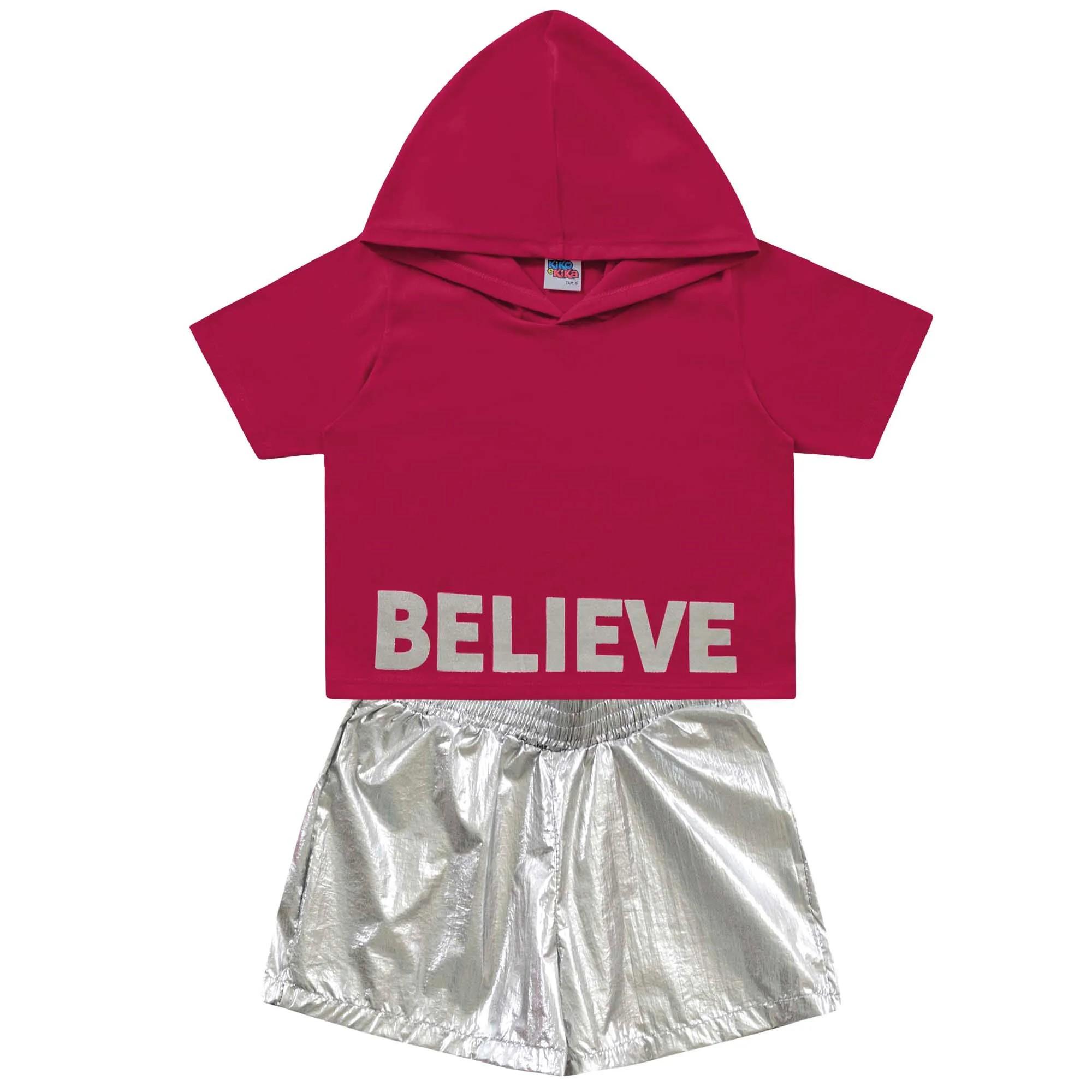 Conjunto Verão Kiko e Kika Cropped e Shorts Believe - 4 ao 10
