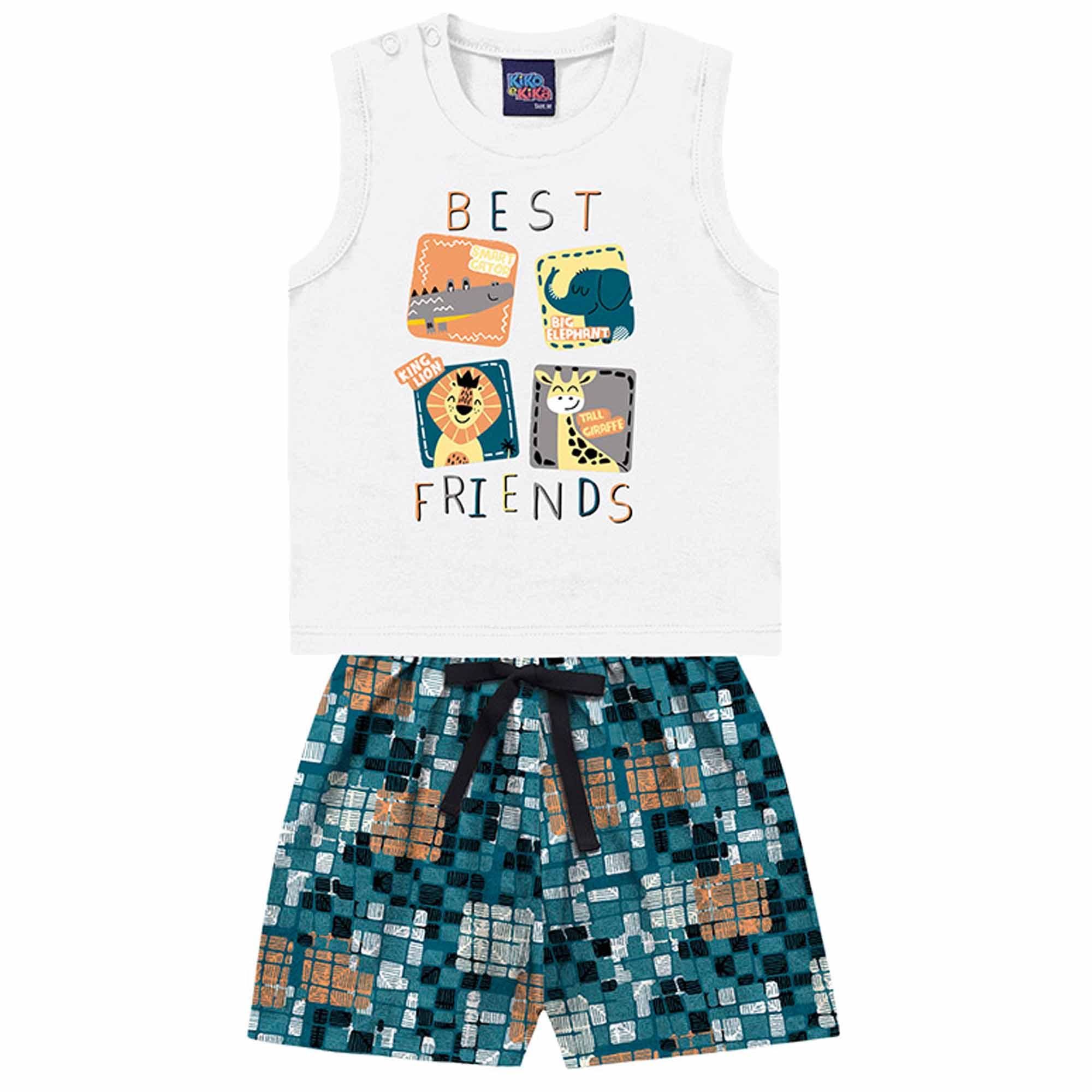 Conjunto Verão Kiko e Kika Regata e Bermuda - Animais Best Friends - P ao G