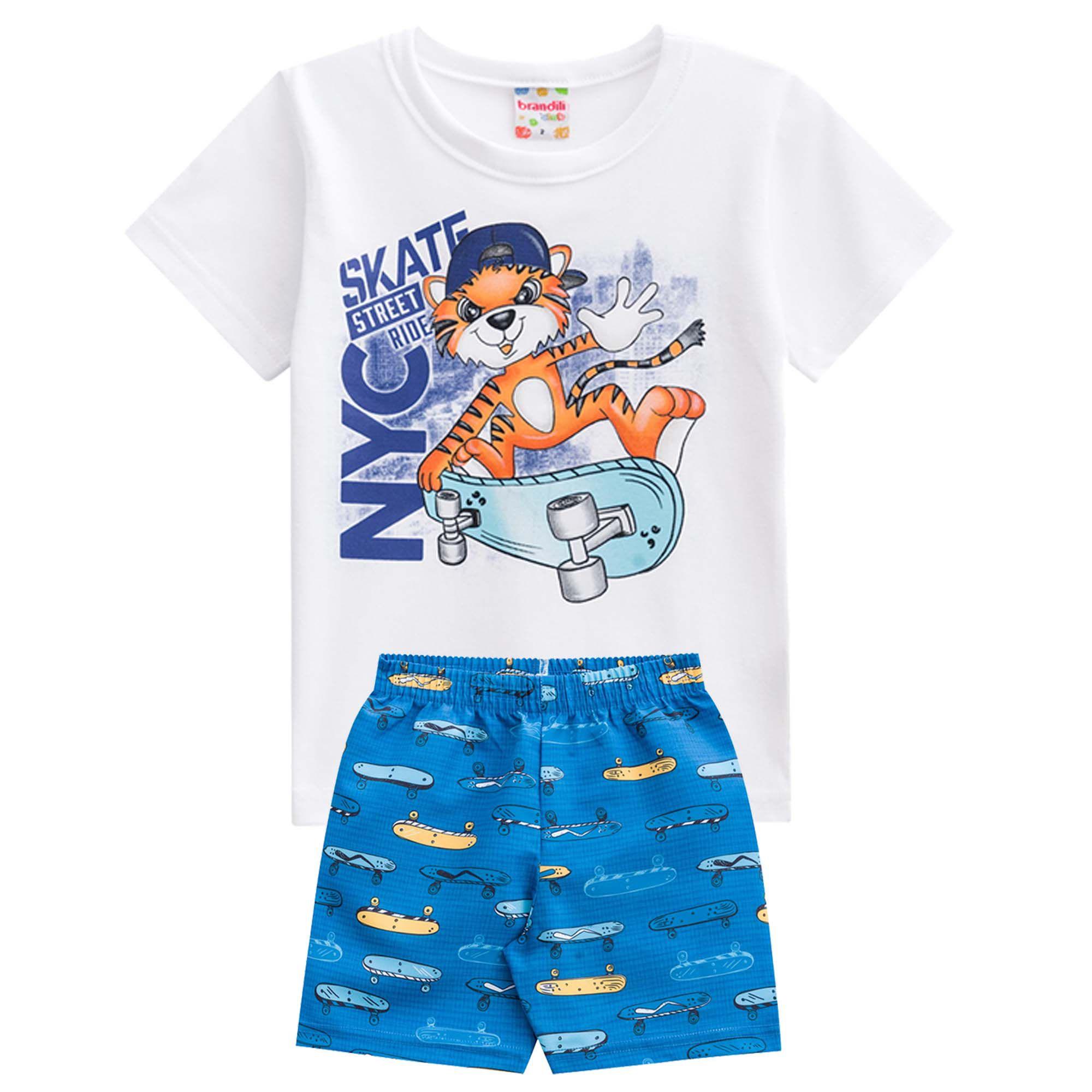 Conjunto Verão Brandili Club Camiseta Skate Street Ride NYC com Bermuda - 1 ao 3