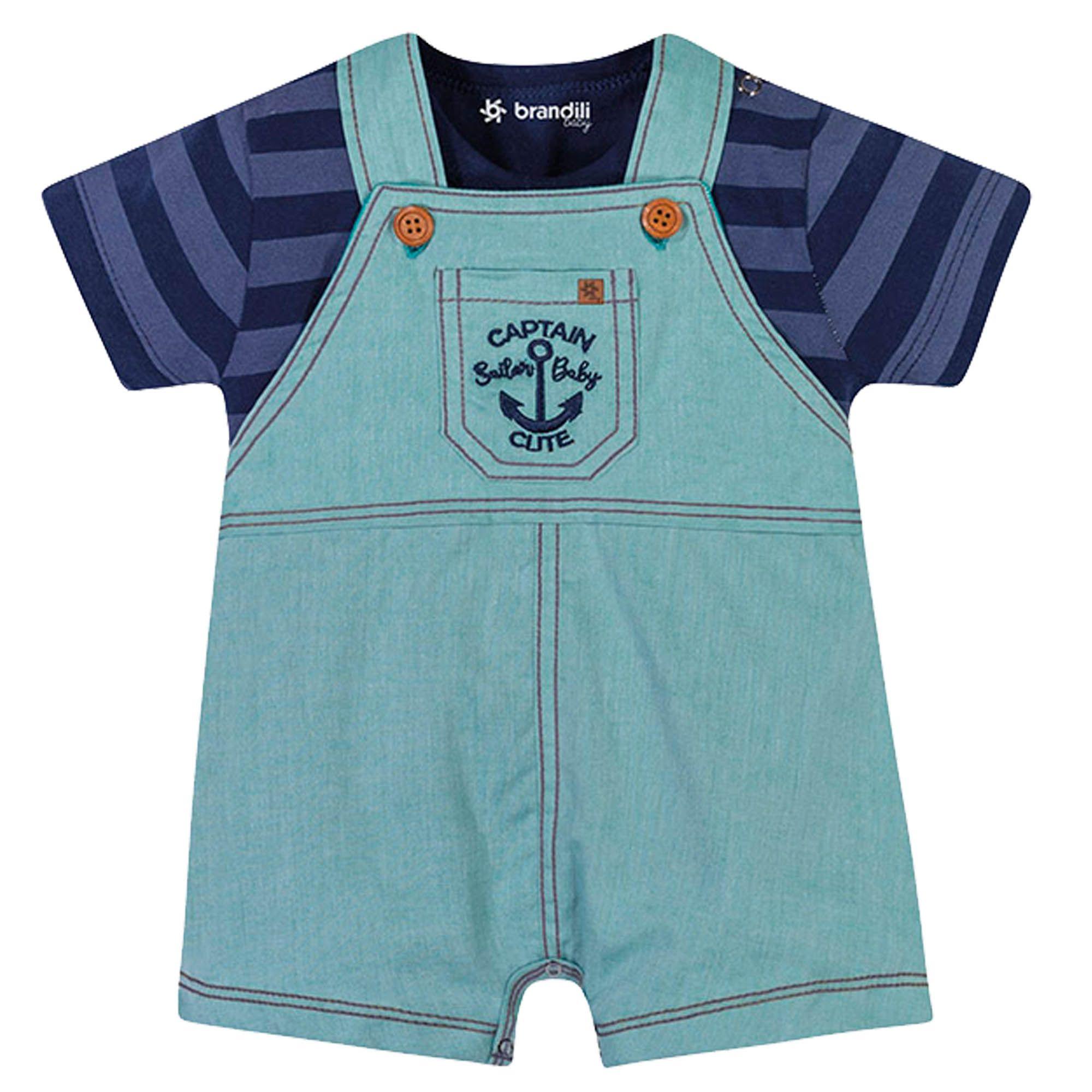 Conjunto Verão Brandili Baby Jardineira Captain Sailor Baby Cute - 1 ao 3