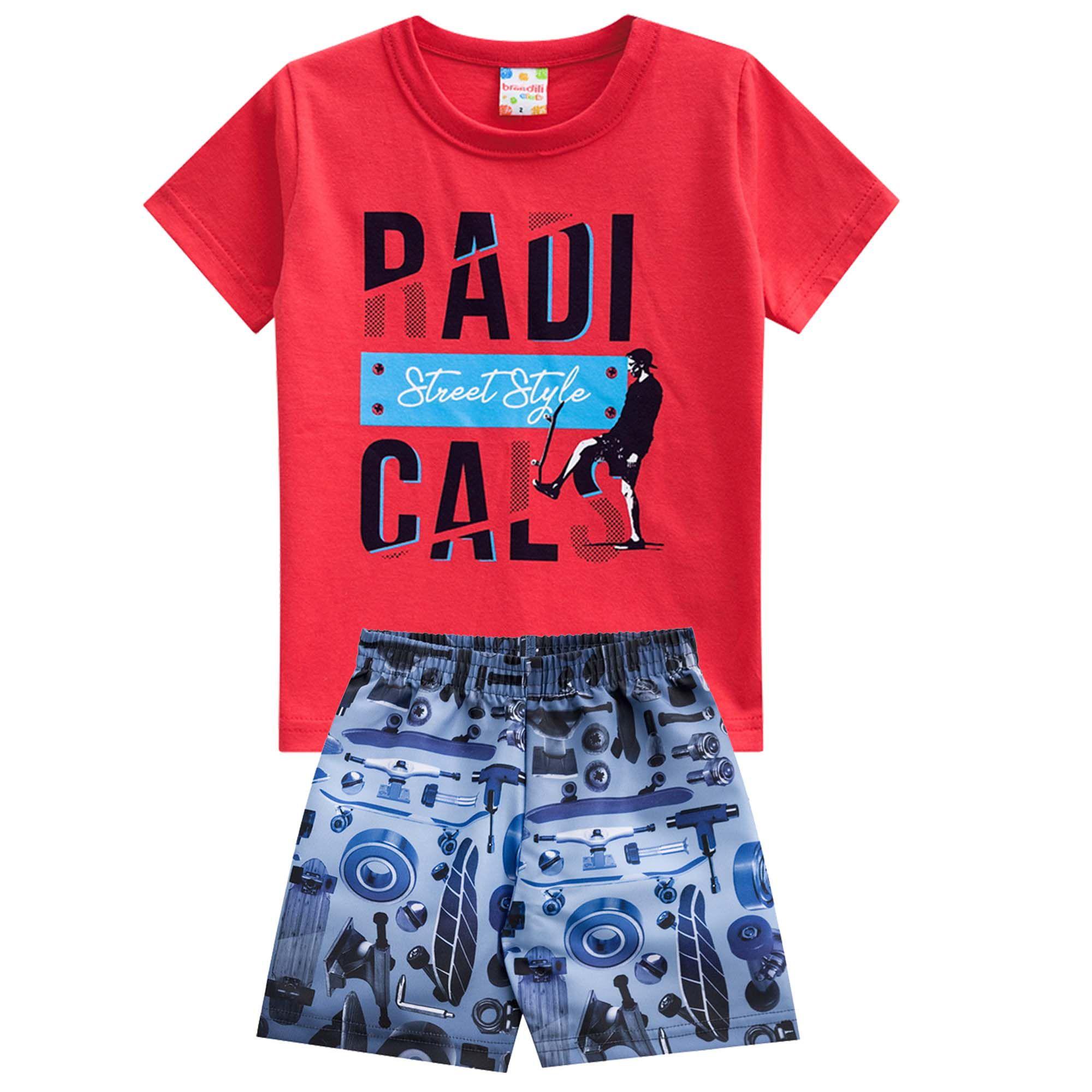 Conjunto Verão Brandili Camiseta Club Radicals Street Style com Bermuda - 1 ao 3