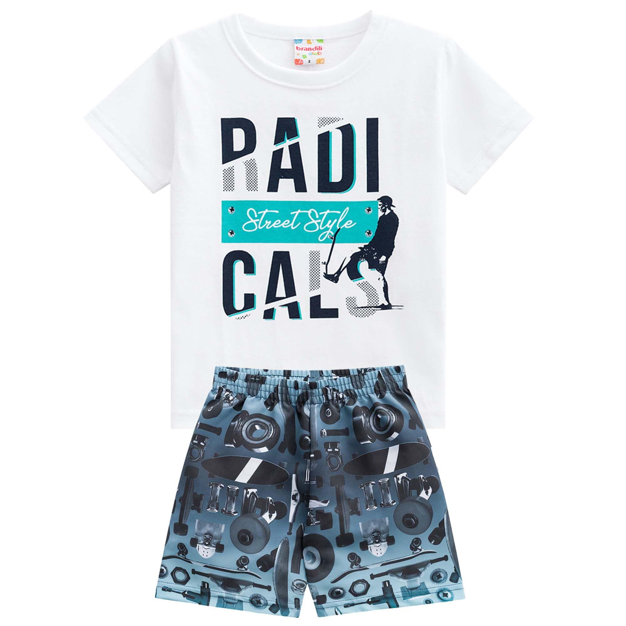Conjunto Verão Brandili Club Camiseta Radicals Street Style com Bermuda - 4 ao 10