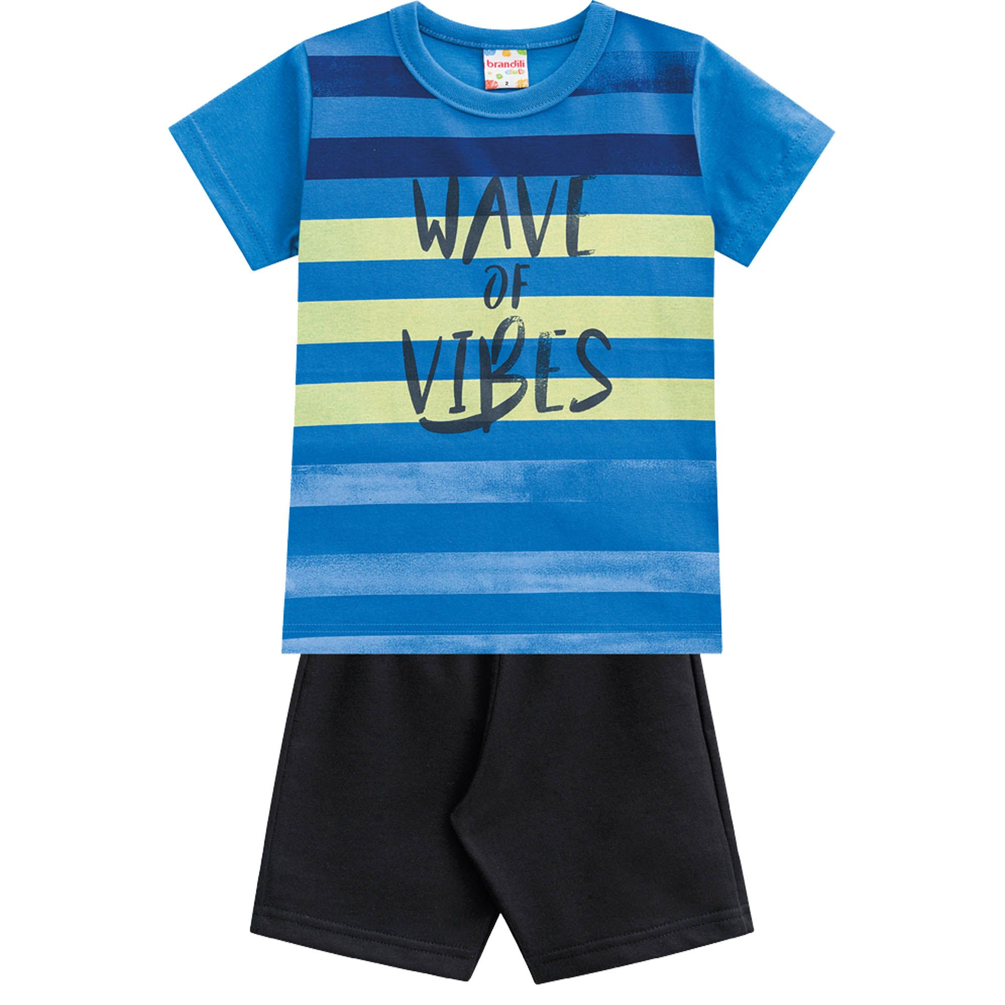 Conjunto Verão Brandili Club Camiseta Wave Of Vibes com Bermuda Moletinho - 4 ao 10