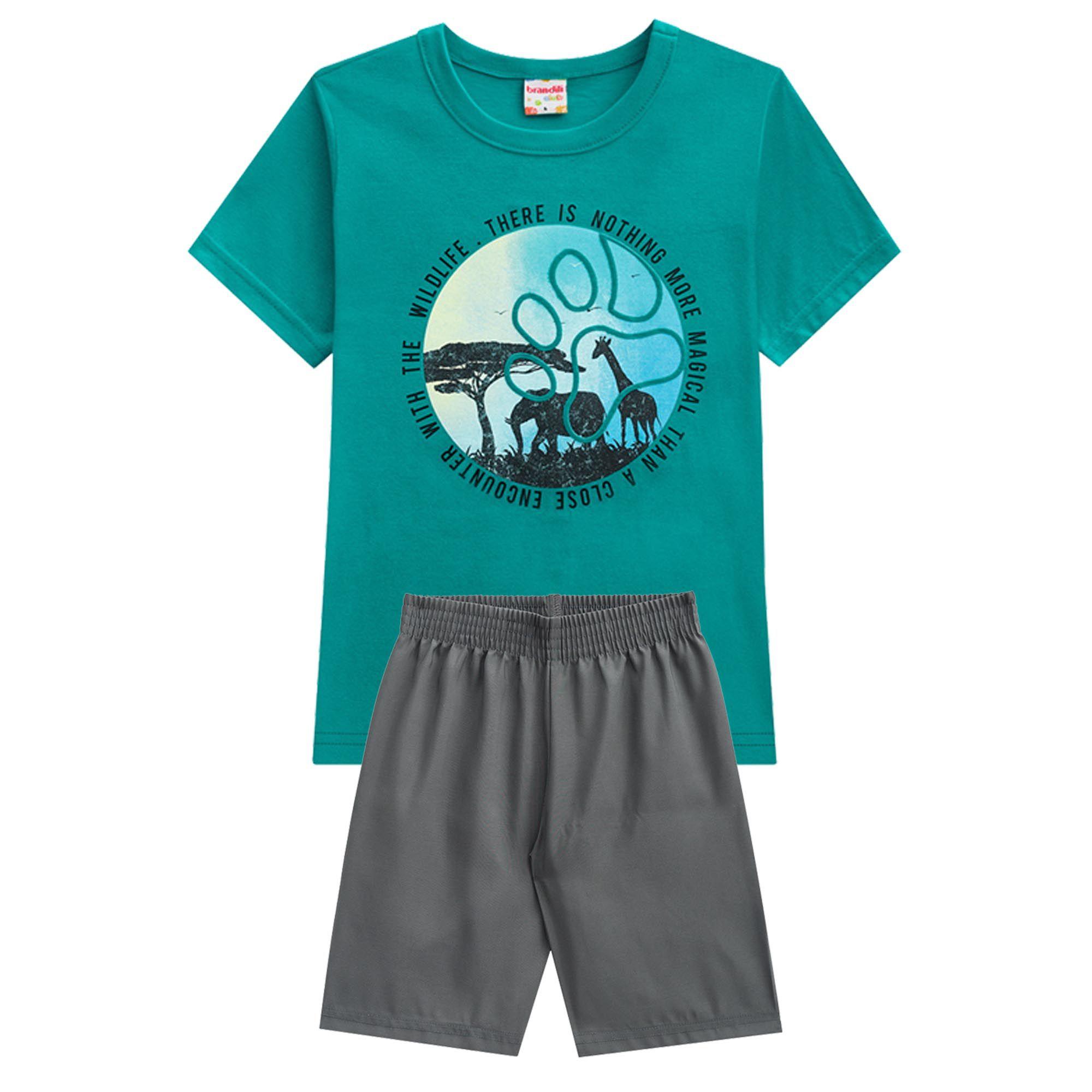 Conjunto Verão Brandili Club Camiseta Wildlife com Bermuda - 4 ao 10