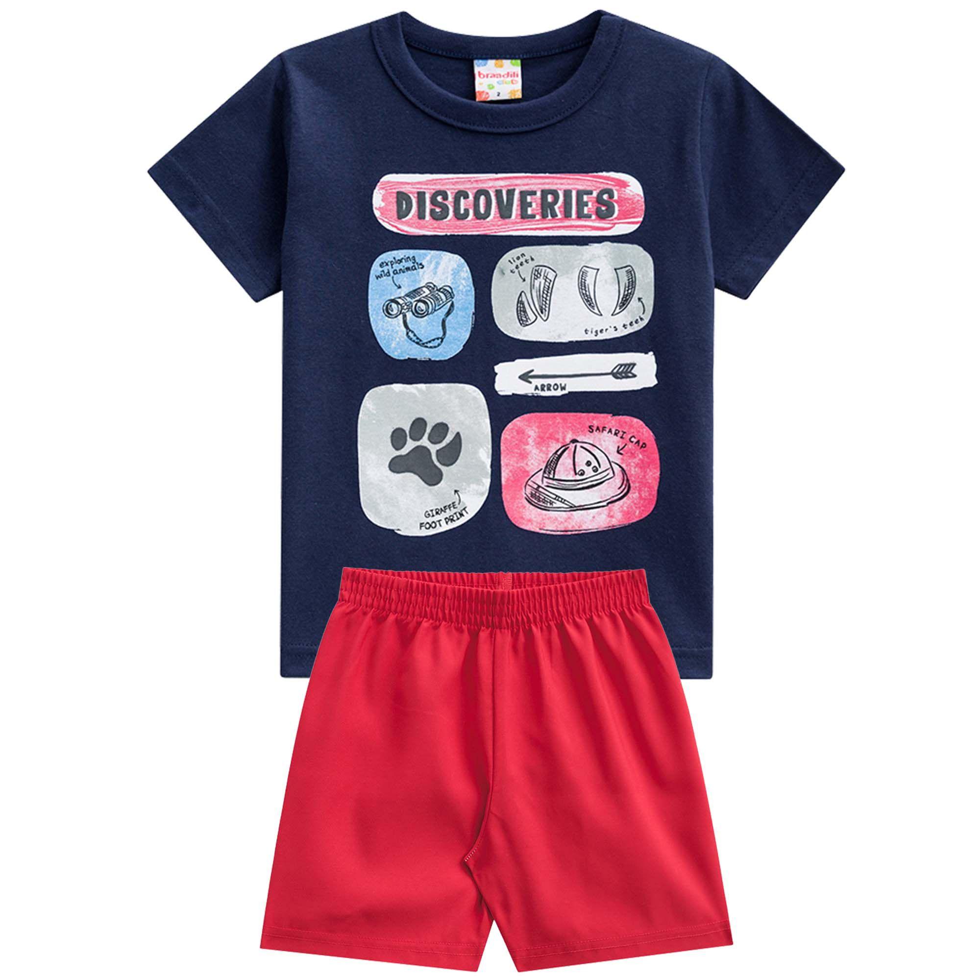 Conjunto Verão Brandili Camiseta Club Discoveries com Bermuda Moletinho - 4 ao 10