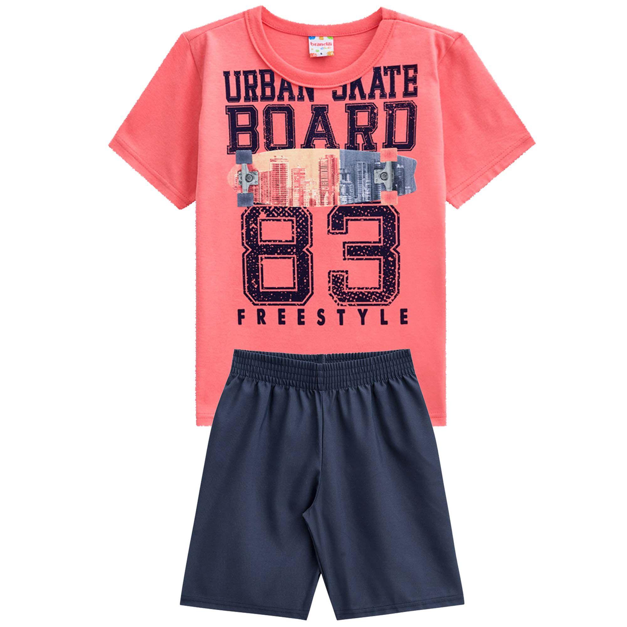 Conjunto Verão Brandili Club Camiseta Urban Skate Board Freestyle com Bermuda Moletinho - 4 ao 10