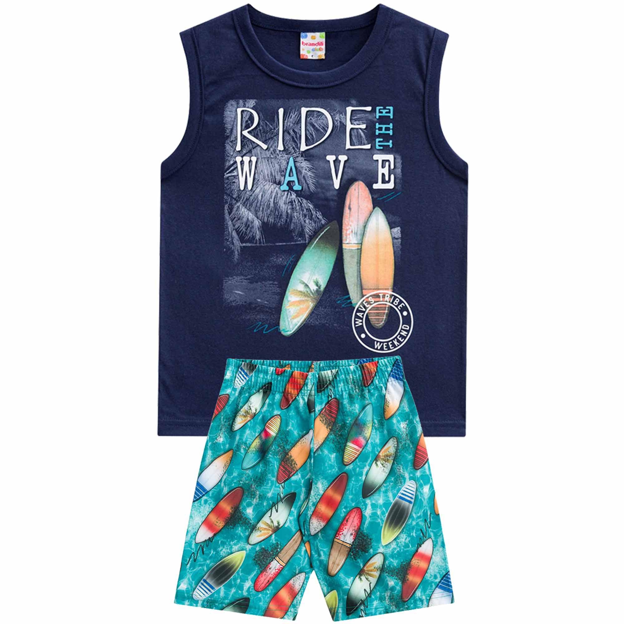 Conjunto Verão Brandili Camiseta Club Ride The Wave com Bermuda - 4 ao 10
