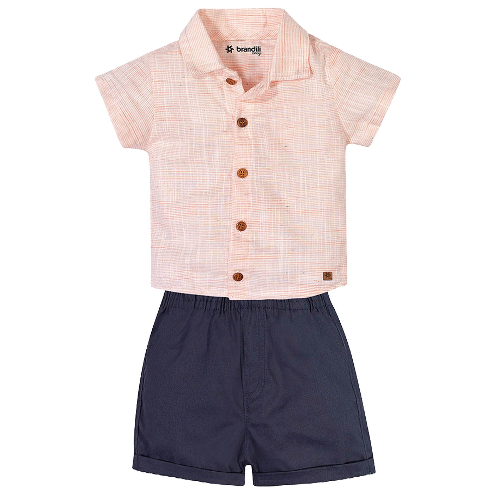 Conjunto Verão Brandili Baby Camisa e Bermuda lisa - P ao G