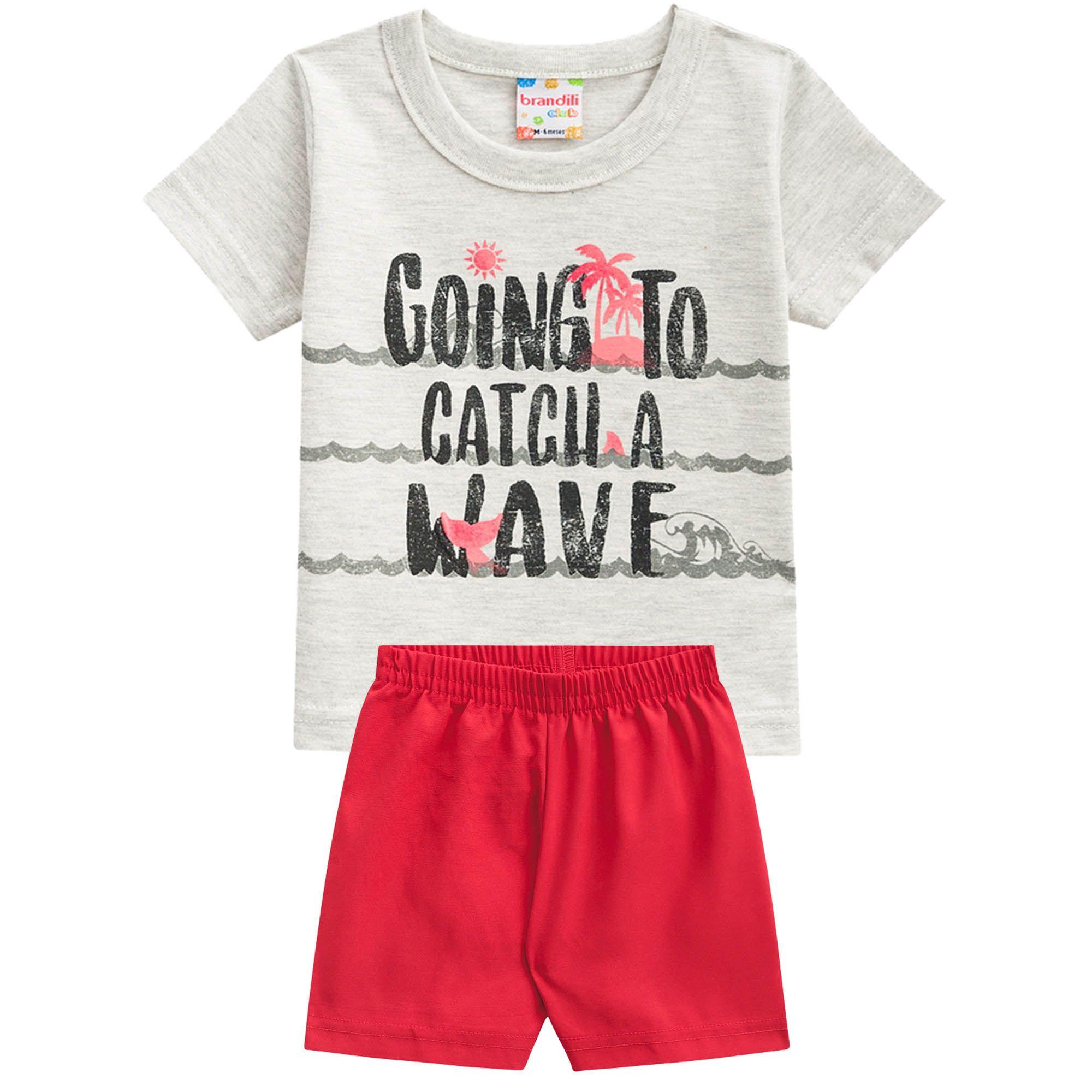 Conjunto Verão Brandili Camiseta Club Going To Catch a Wave com Bermuda Microfibra - P ao G