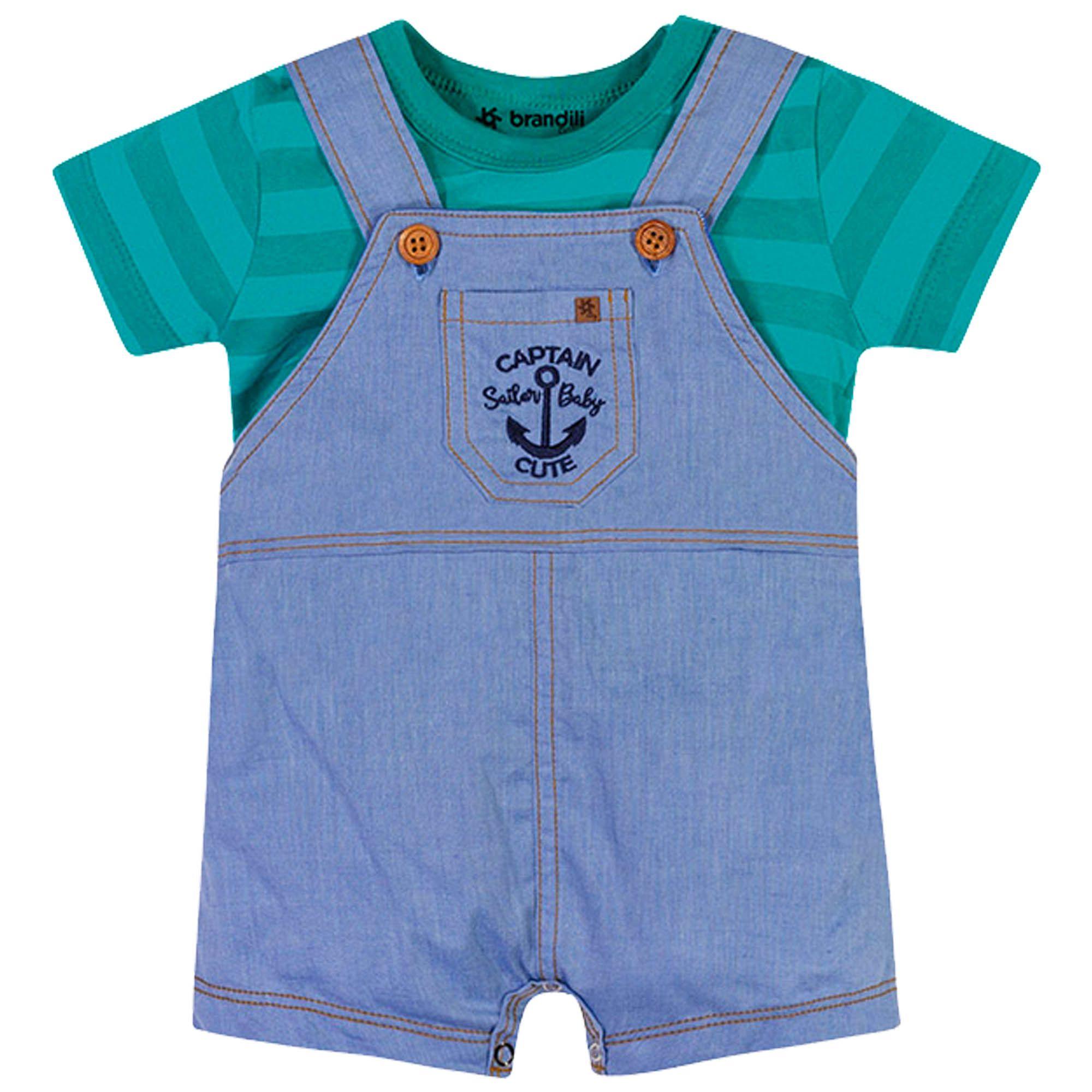 Conjunto Brandili Baby Jardineira Captain Sailor Baby Cute - P ao G