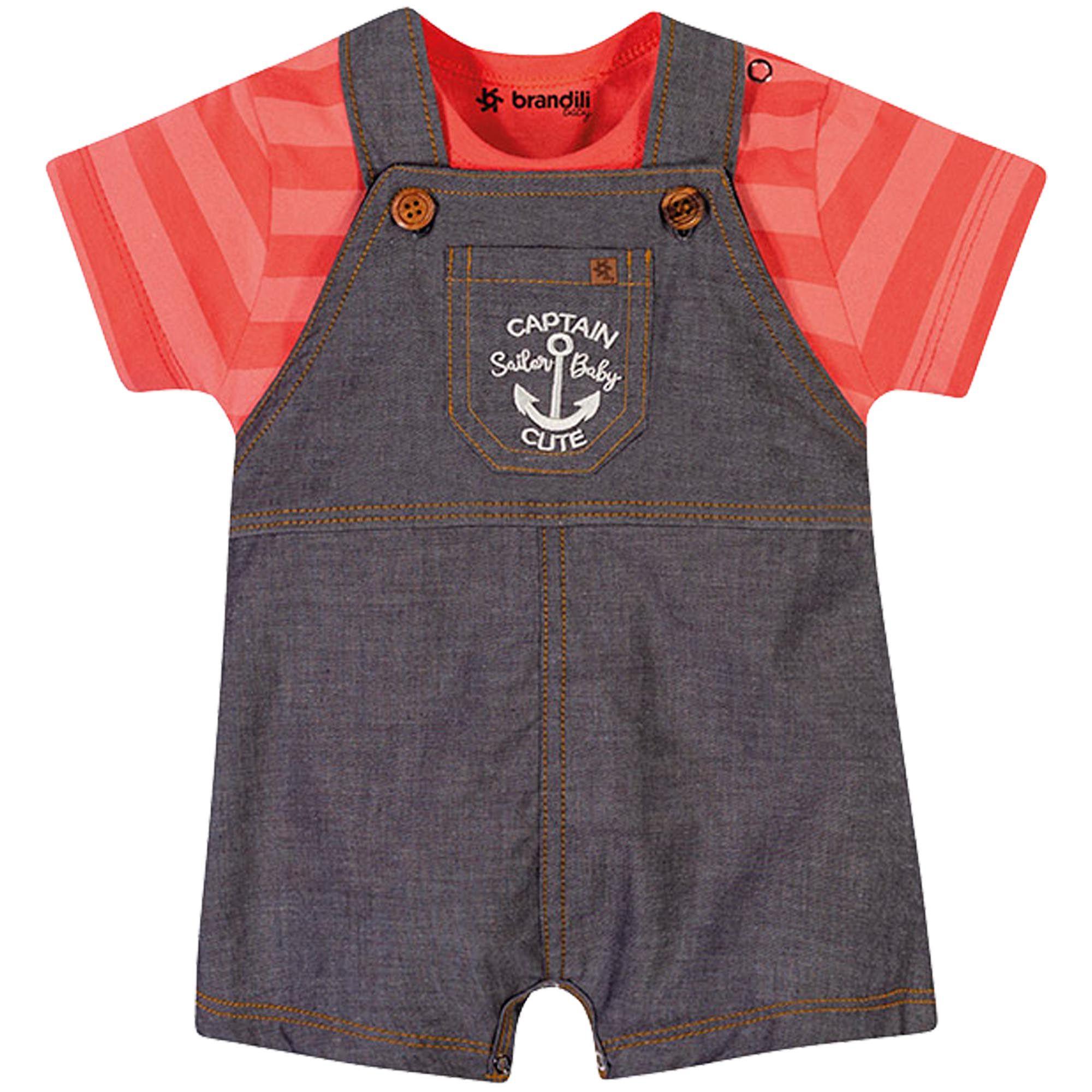 Conjunto Verão Brandili Baby Jardineira Captain Sailor Baby Cute - P ao G