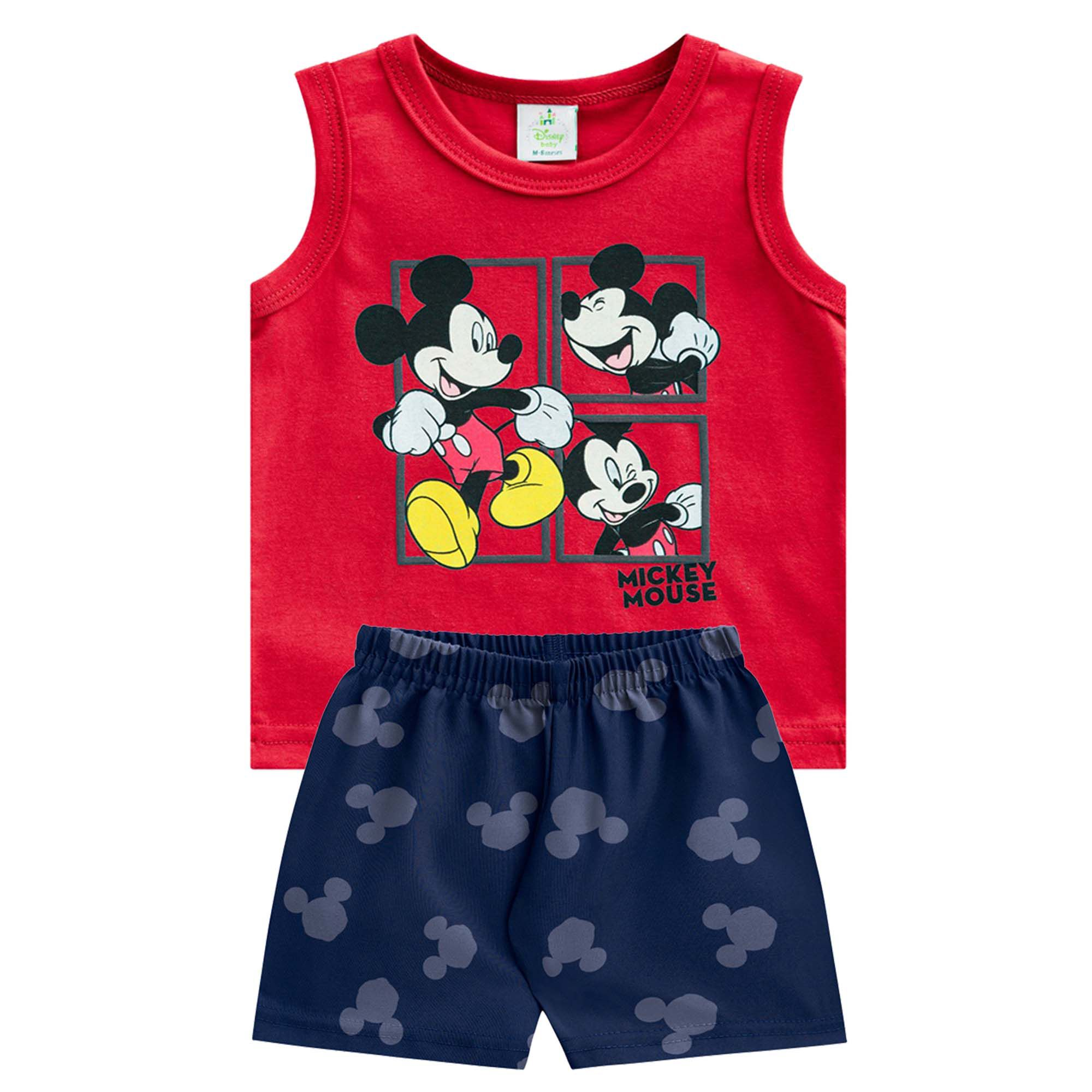 Conjunto Verão Brandili Regata Mickey Mouse com Bermuda Microfibra - P ao G