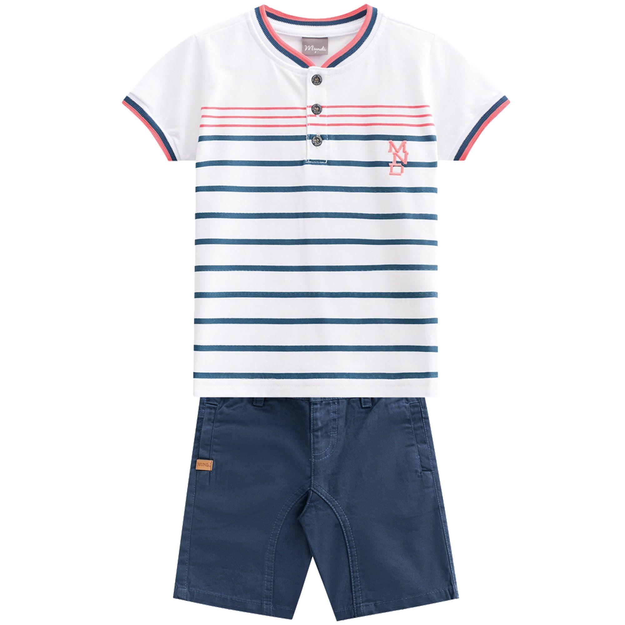 Conjunto Verão Brandili Mundi Camiseta MND Listras com Bermuda Sarja - 1 ao 3