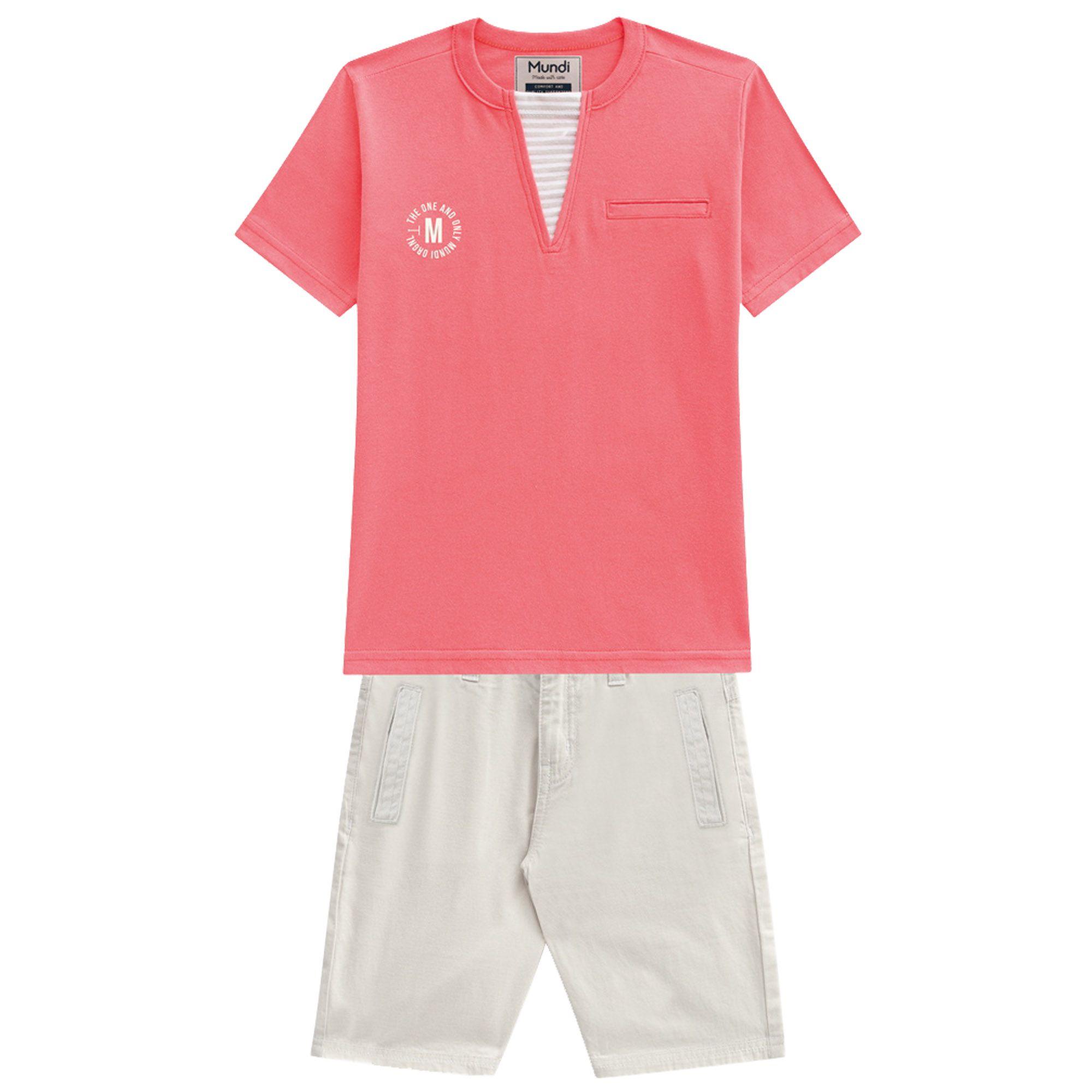 Conjunto Verão Brandili Mundi Camiseta The One and Only com Bermuda Sarja - 4 ao 10