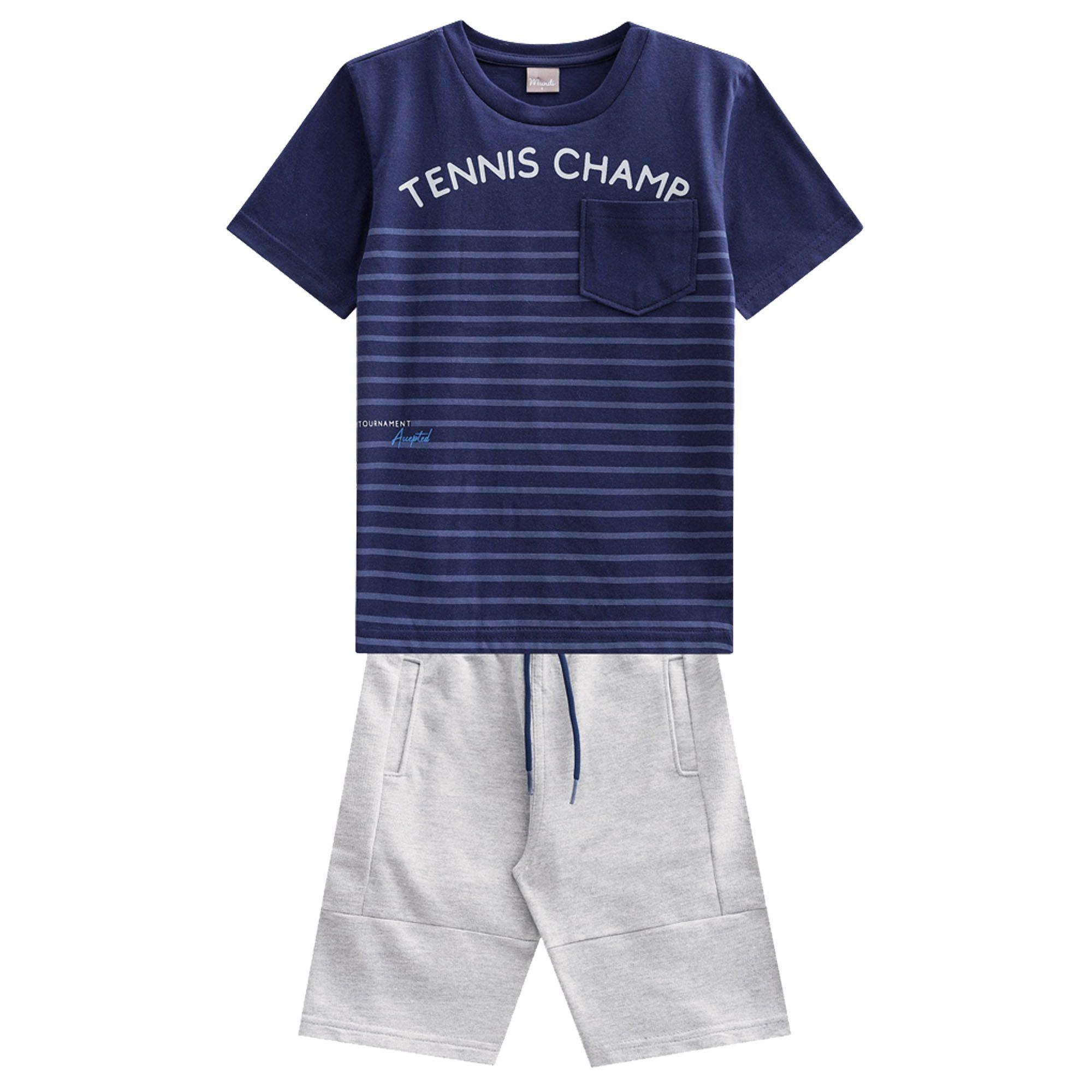 Conjunto Verão Brandili Mundi Camiseta Tennis Champ com Bermuda Moletinho - 4 ao 10