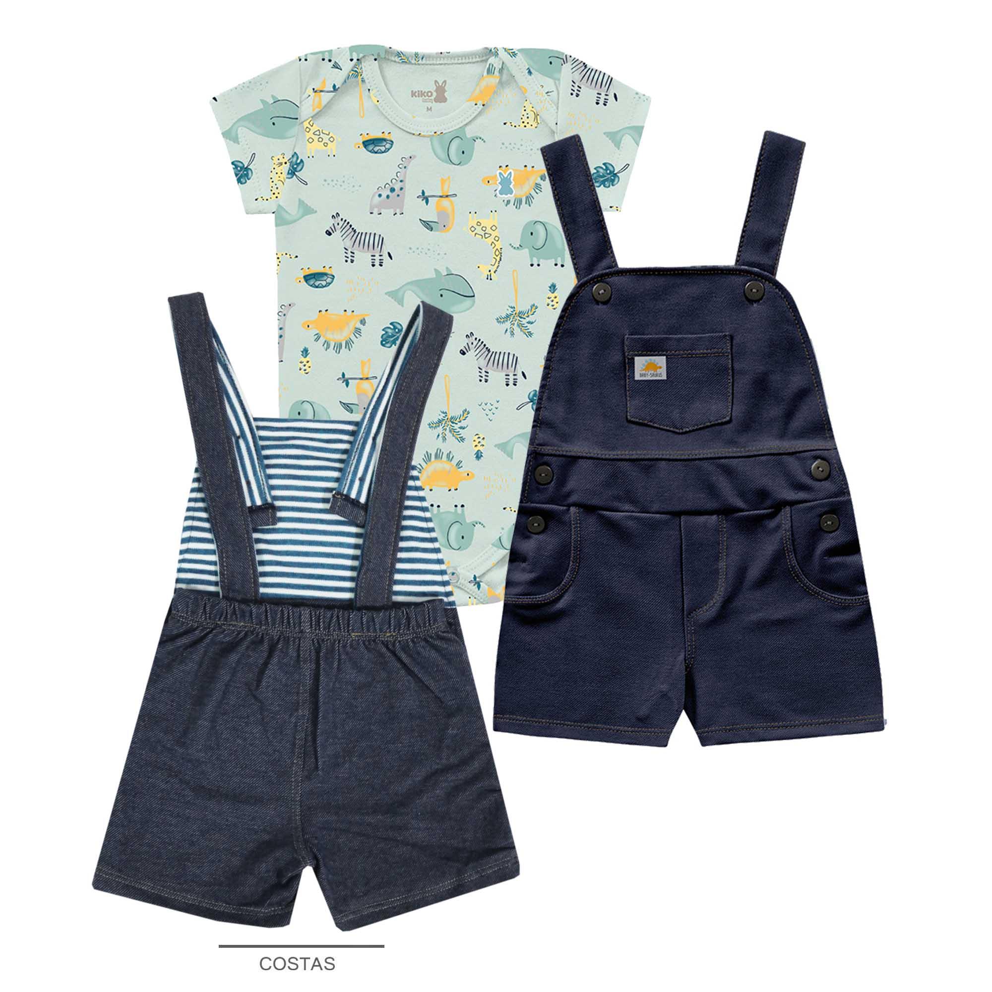 Conjunto Verão Kiko Baby Jardineira e Body Meia Manga - Bichinhos - P e M