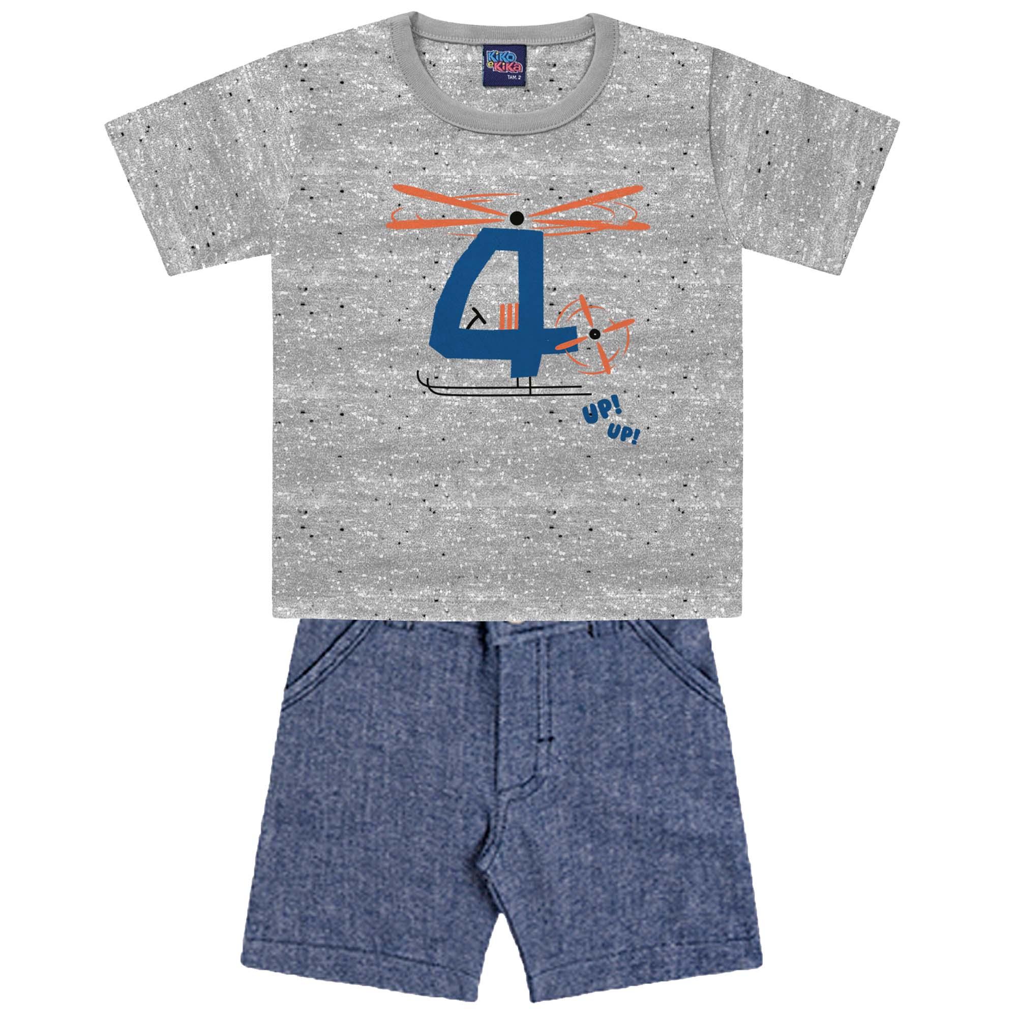 Conjunto de Verão Kiko e Kika Camiseta com Bermuda - 1 ao 3
