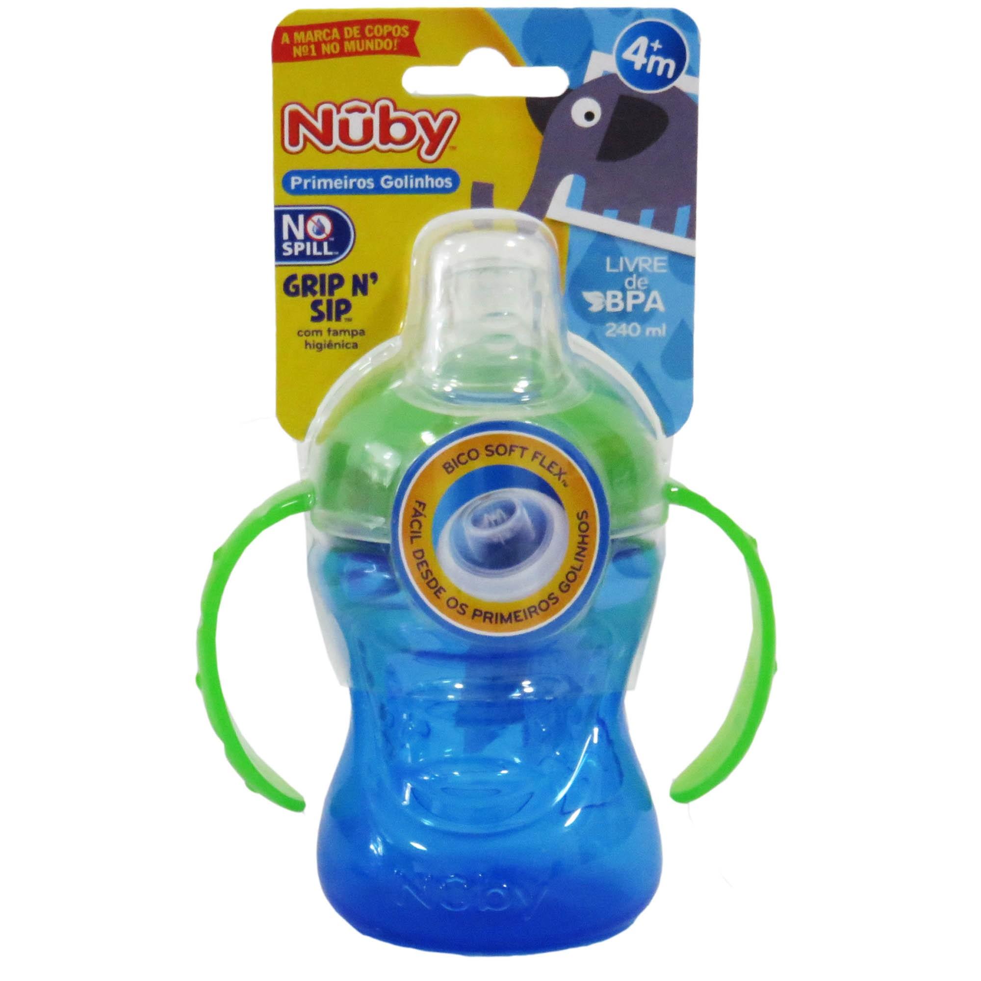 Copo Cajovil Nûby Grip N' Sip com Alça e Super Bico de Silicone - 240 ml +4M - Azul