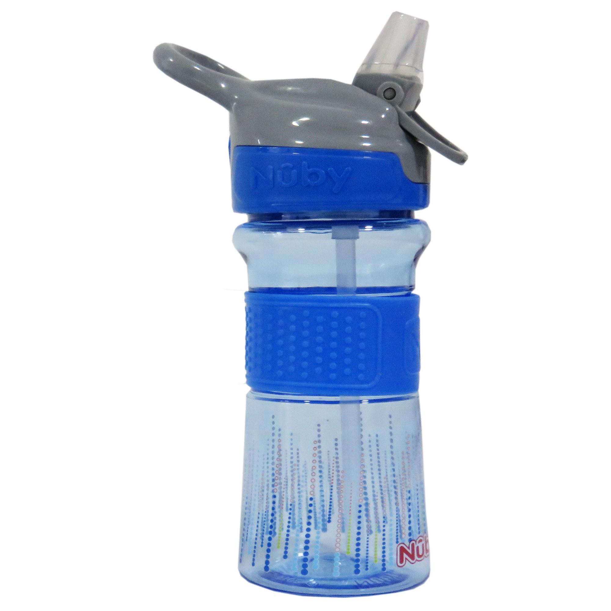 Copo Cajovil Nûby Tritan com botão e bico de silicone - +18M - Azul Bolinha