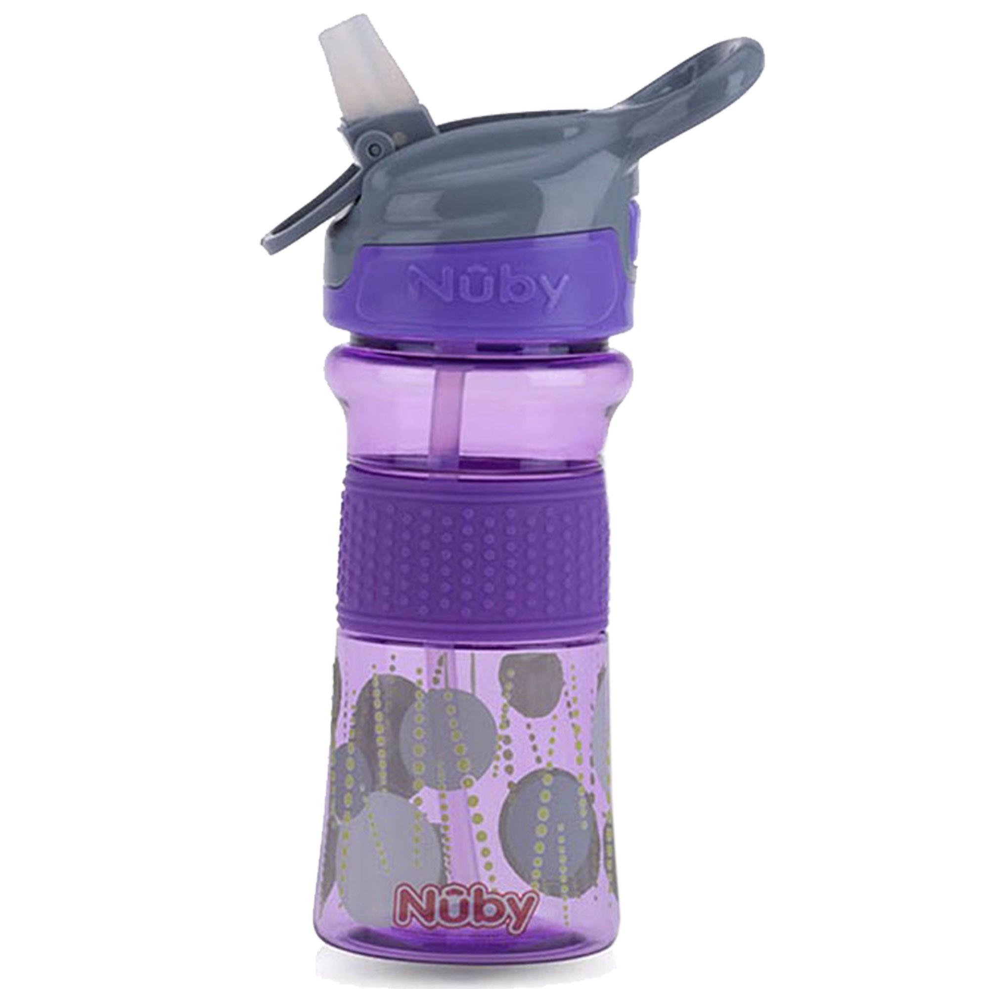Copo Cajovil Nûby Tritan com botão e bico de silicone - +18M - Lilás Bolinha