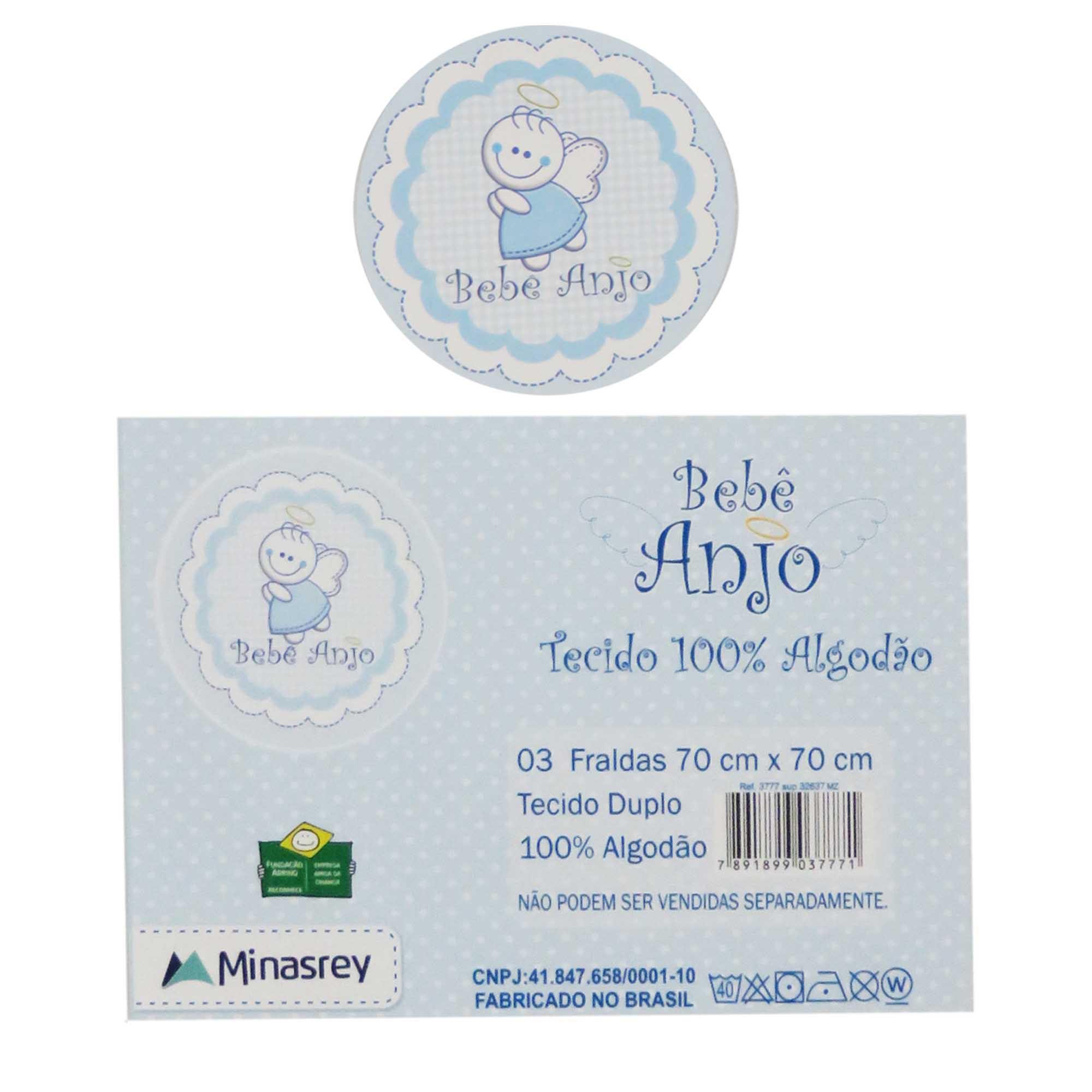 Fralda Bordada com 3 unidades - Minasrey - Bebê Anjo