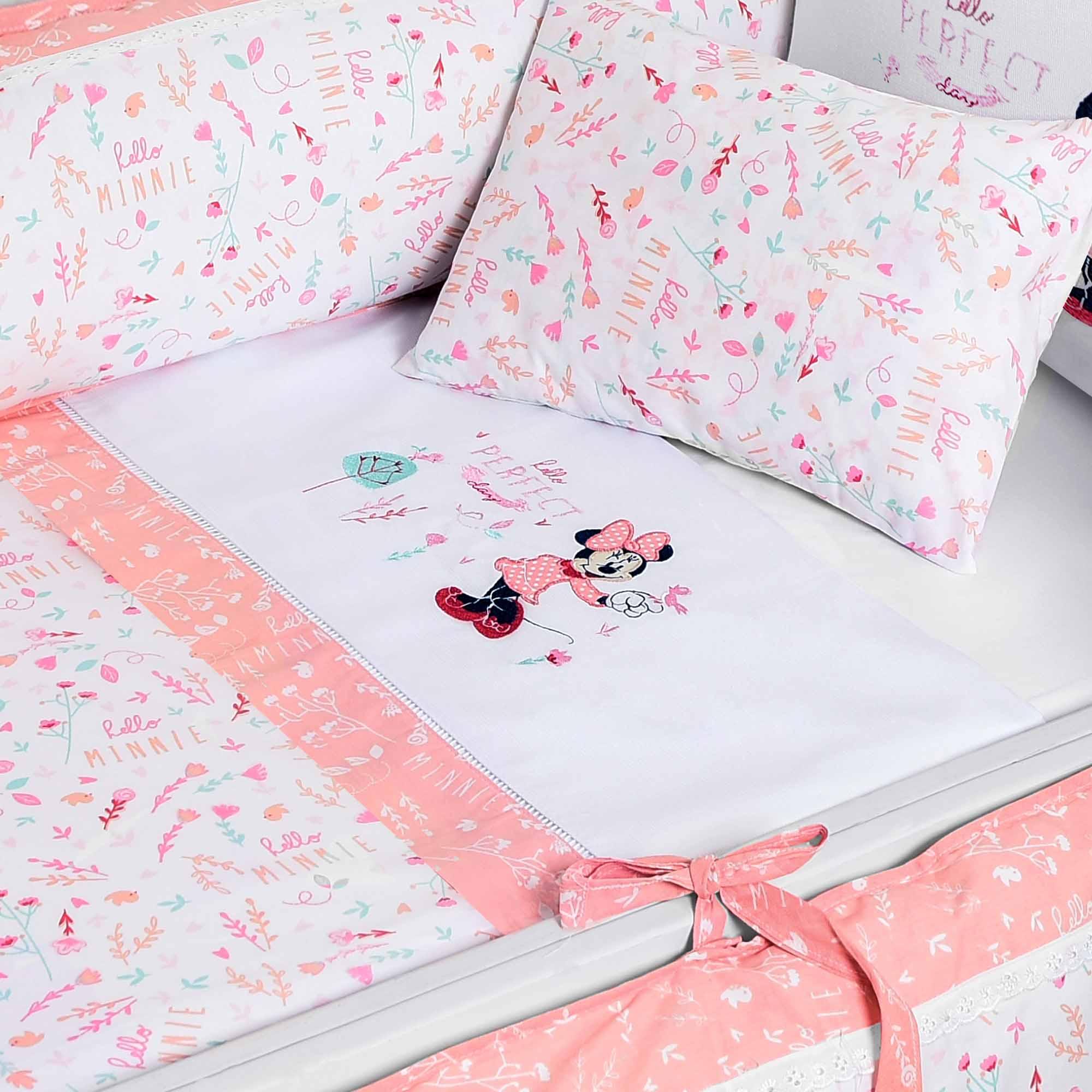 Jogo de Lençol para Berço Americano com 3 peças - Minasrey - Disney Baby - Rosa