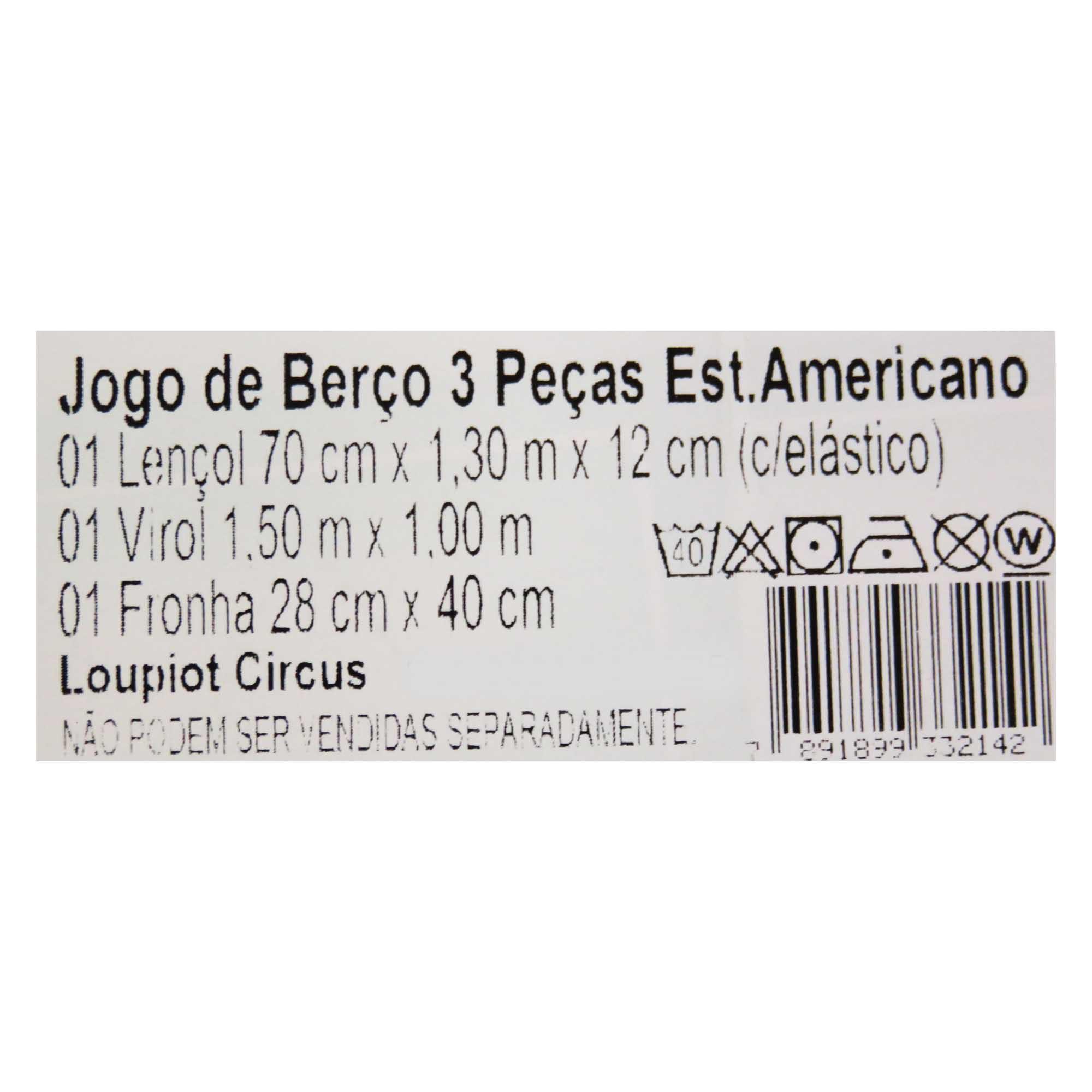 Jogo de Lençol para Berço Americano - Minasrey - Circus Loupiot