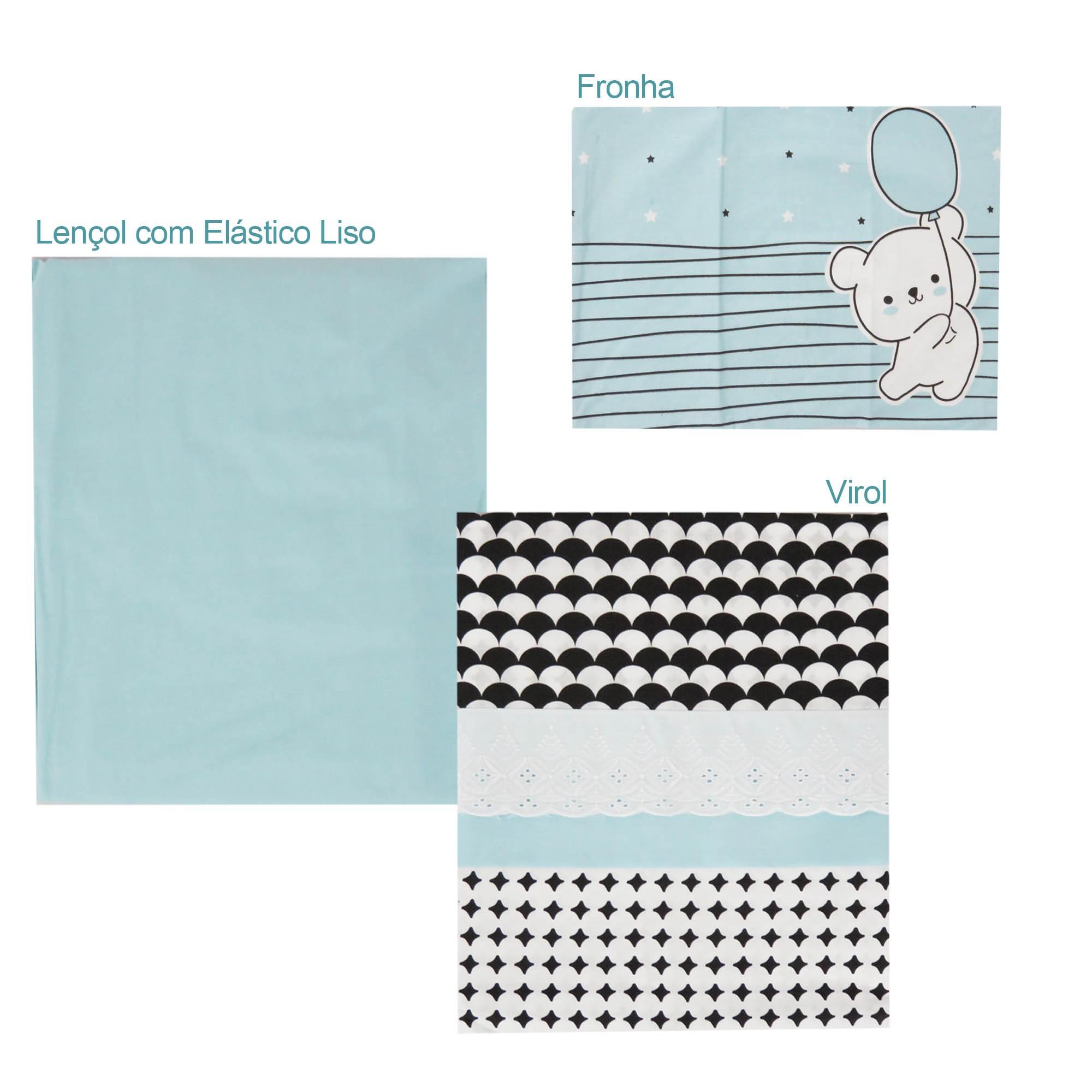 Jogo de lençol para berço com 3 peças Americano - Minasrey - Mini Herdeiros