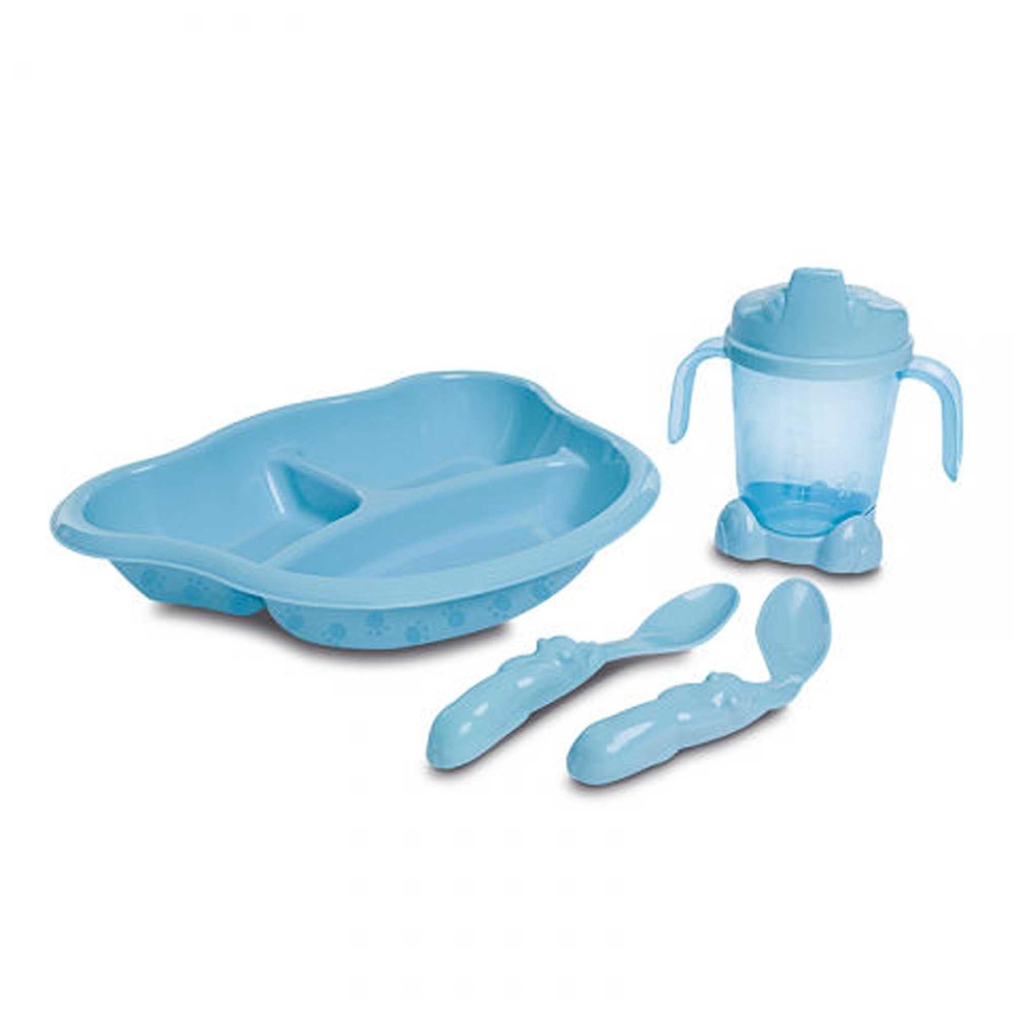 Kit Alimentação Cajovil Adoleta Bebê Econômico: Prato, Copo e Duas Colheres - Azul