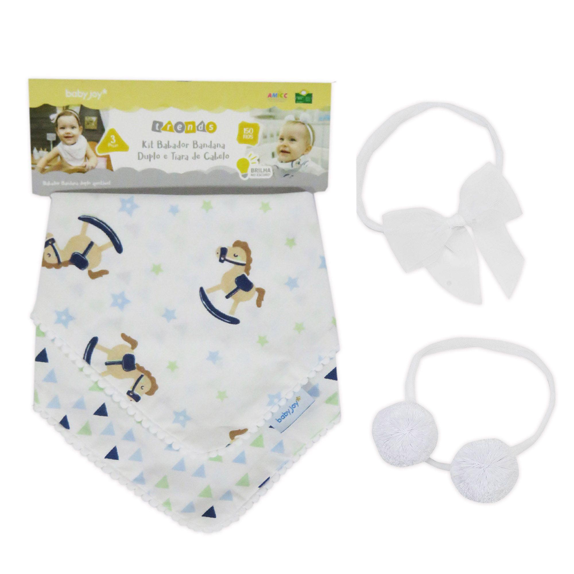 Kit Babador Bandana Incomfral Babyjoy - Branco