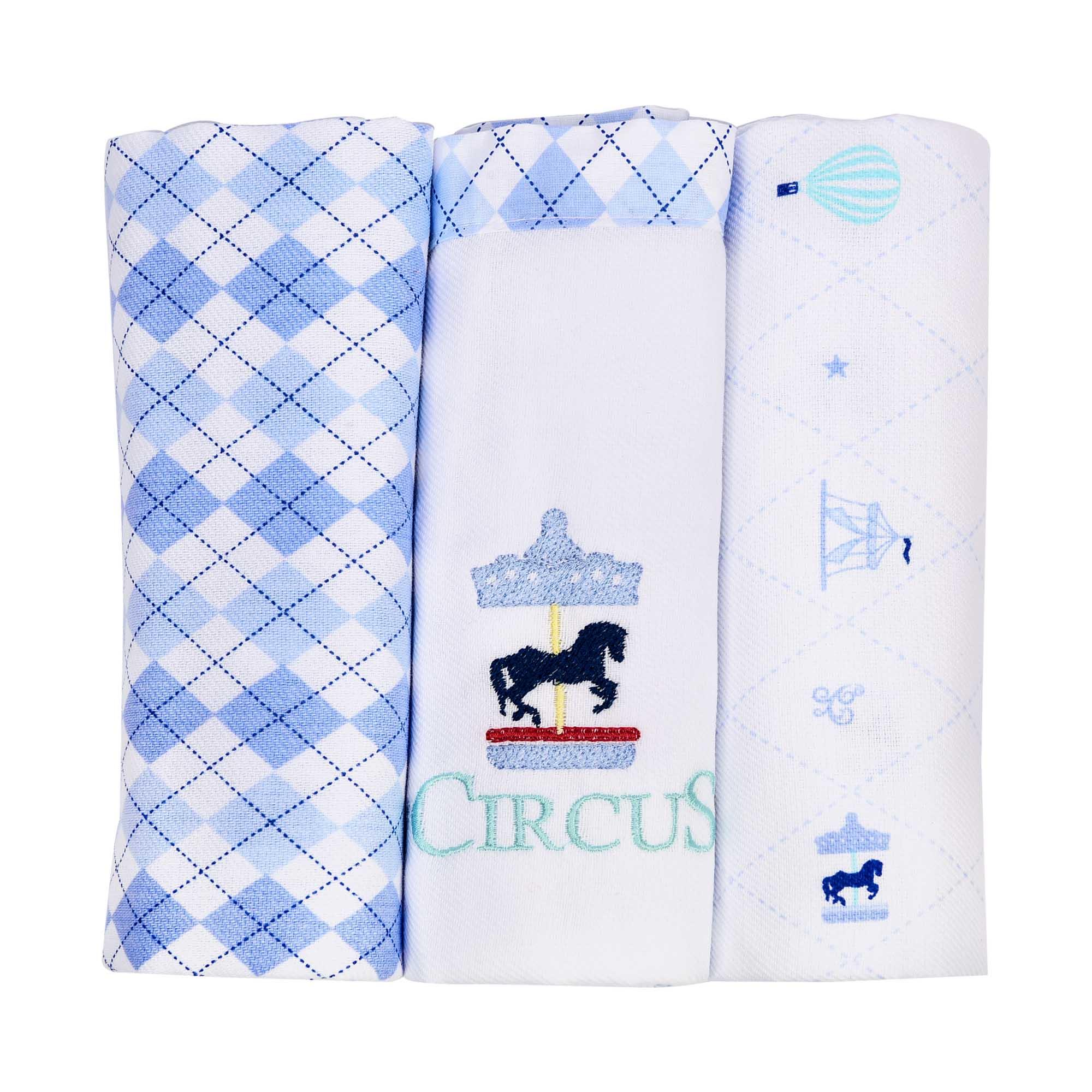 kit Cueiro Bordado  com 3 Rolinhos - Minasrey - Circus Loupiot
