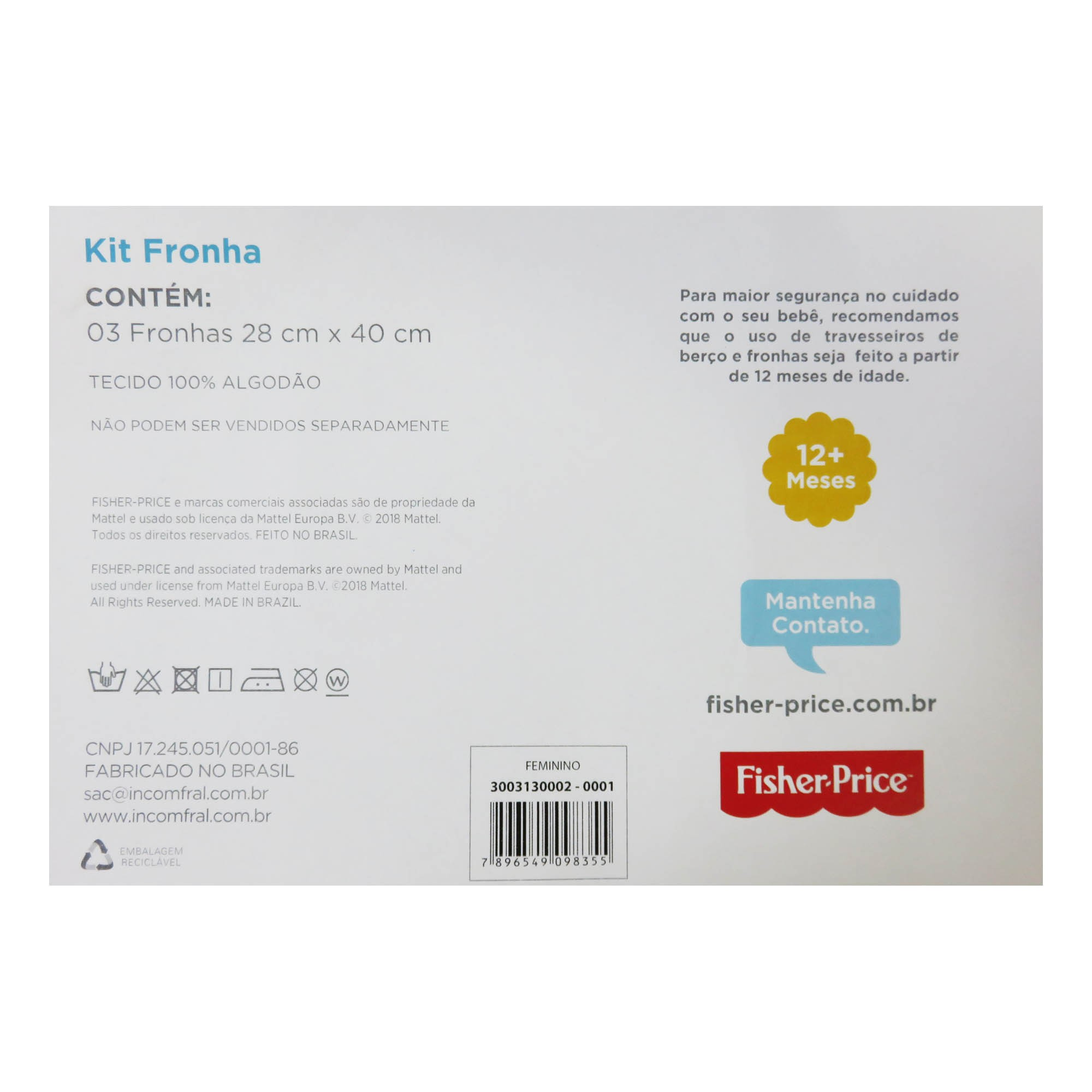 Kit Fronha Estampada Bichinhos com 3 unidades -Incomfral - Fisher Price