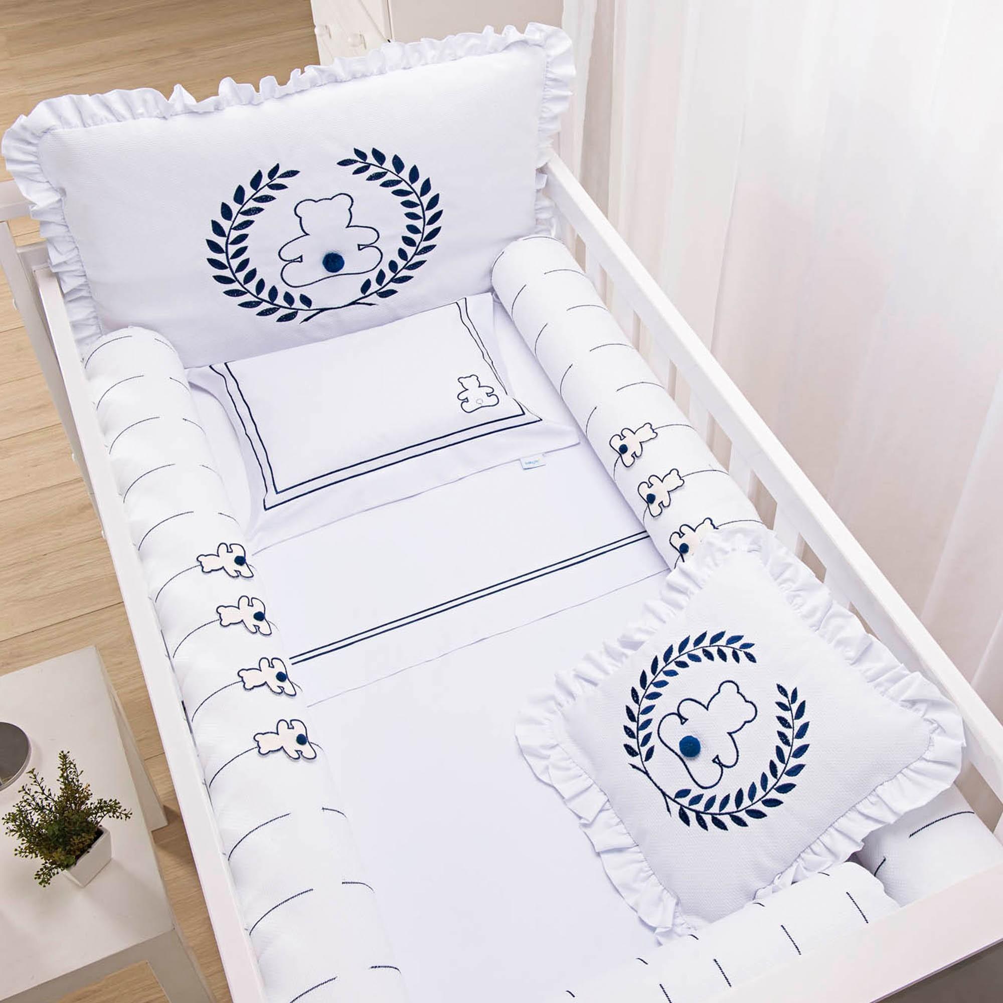 Kit para Berço com Bordado 8 peças Incomfral Baby Joy - Ursos