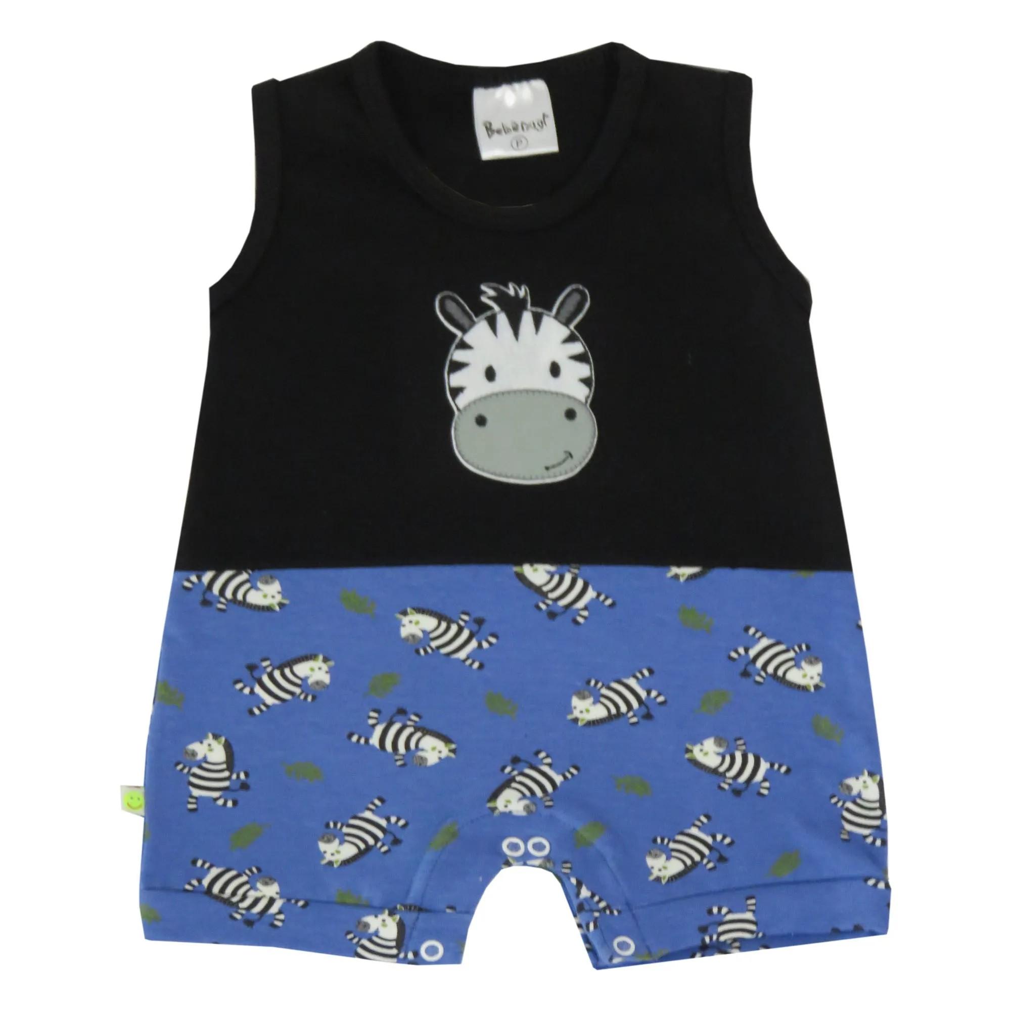Macacão Verão Bebênyl Regata Estampa de Cotton - Zebra - P ao G