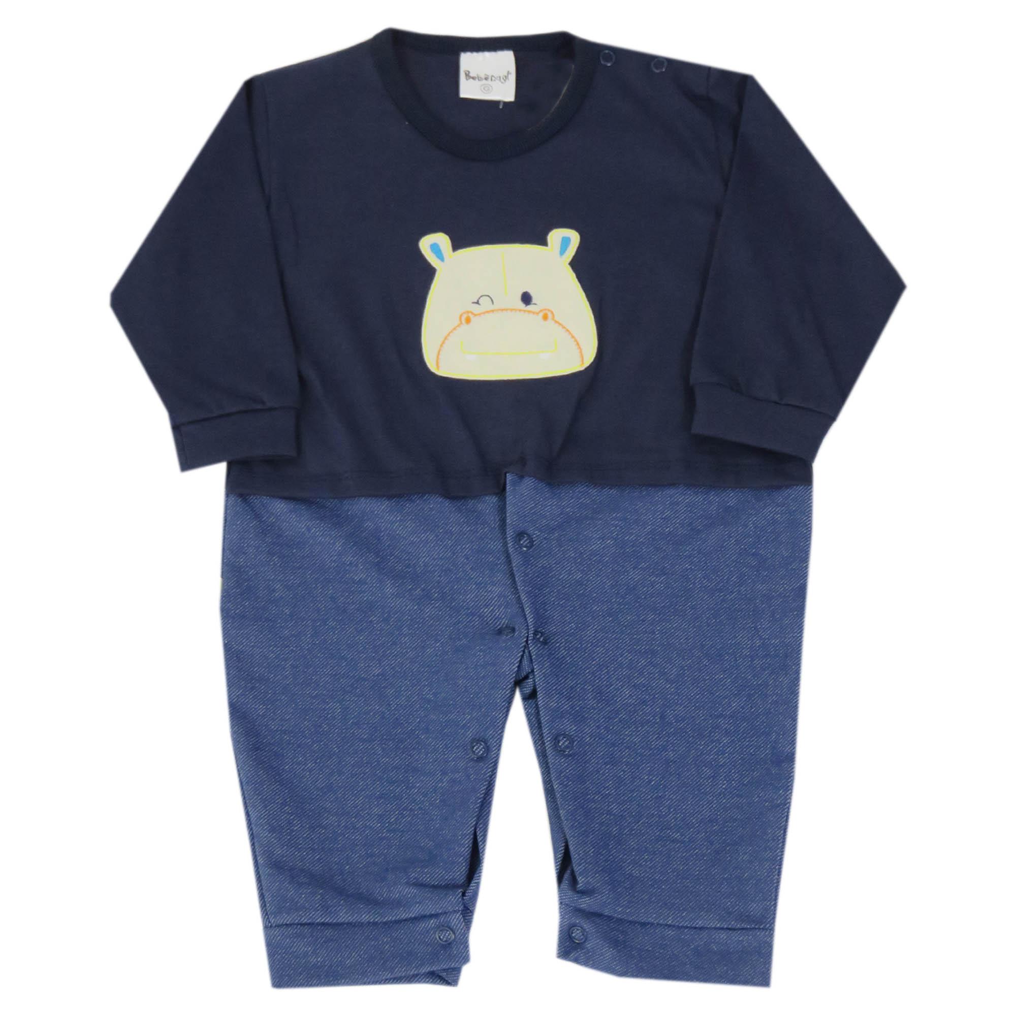 Macacão Inverno Bebênyl Jeans Sem Pé - Bichinhos - RN ao G
