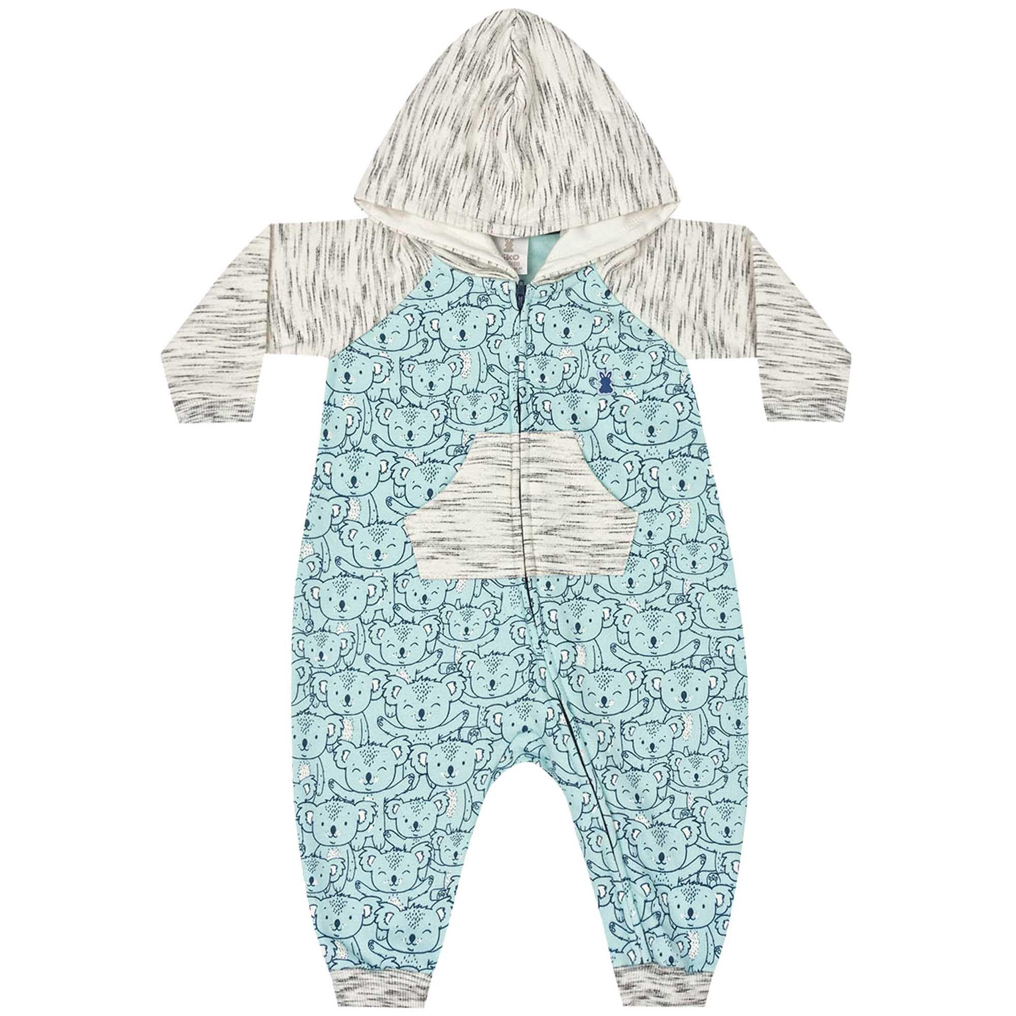 Macacão Inverno Moletom Kiko Baby Estampa Coalas com Capuz - RN ao G