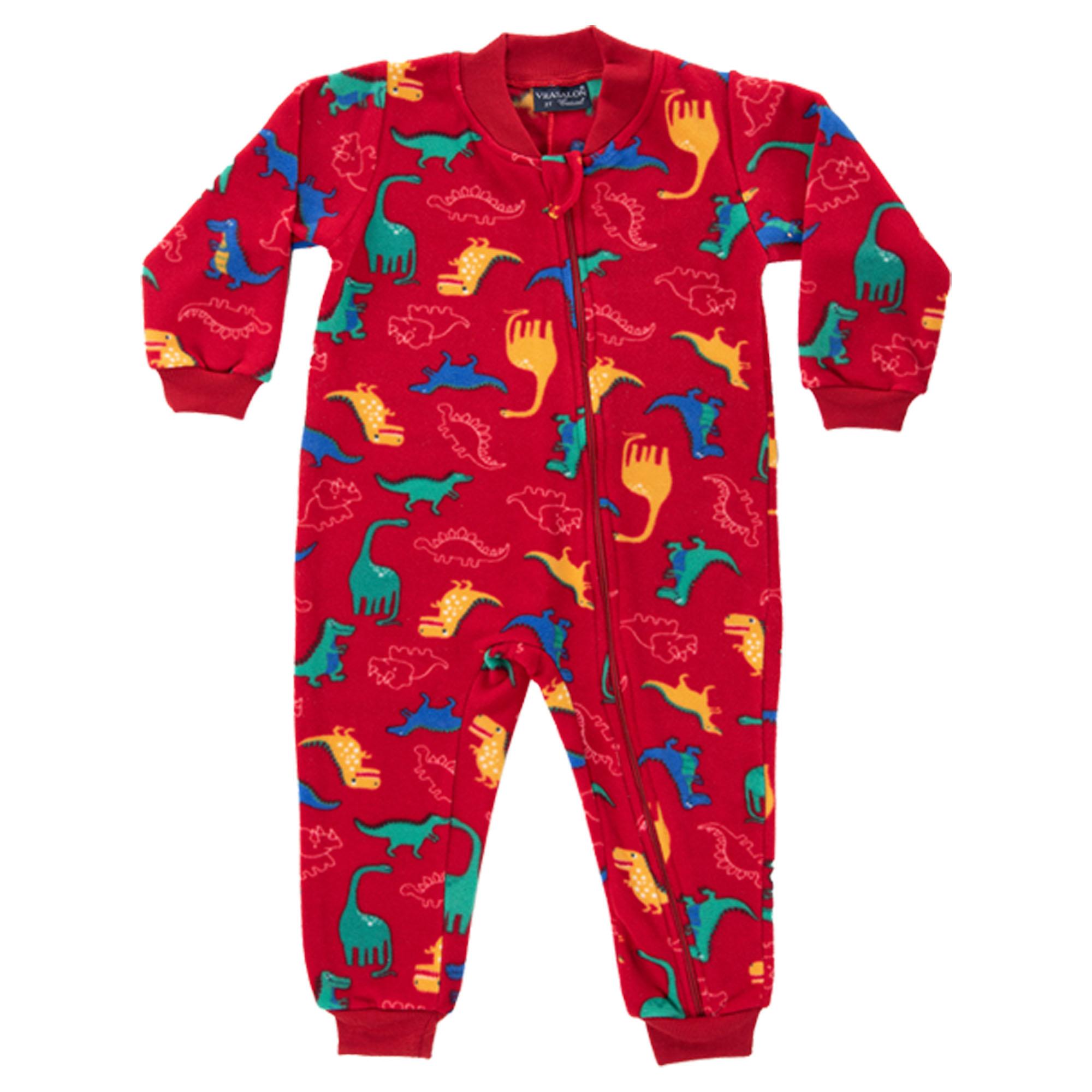 Macacão Pijama Inverno Vrasalon Soft Dinossauros - 04 ao 08