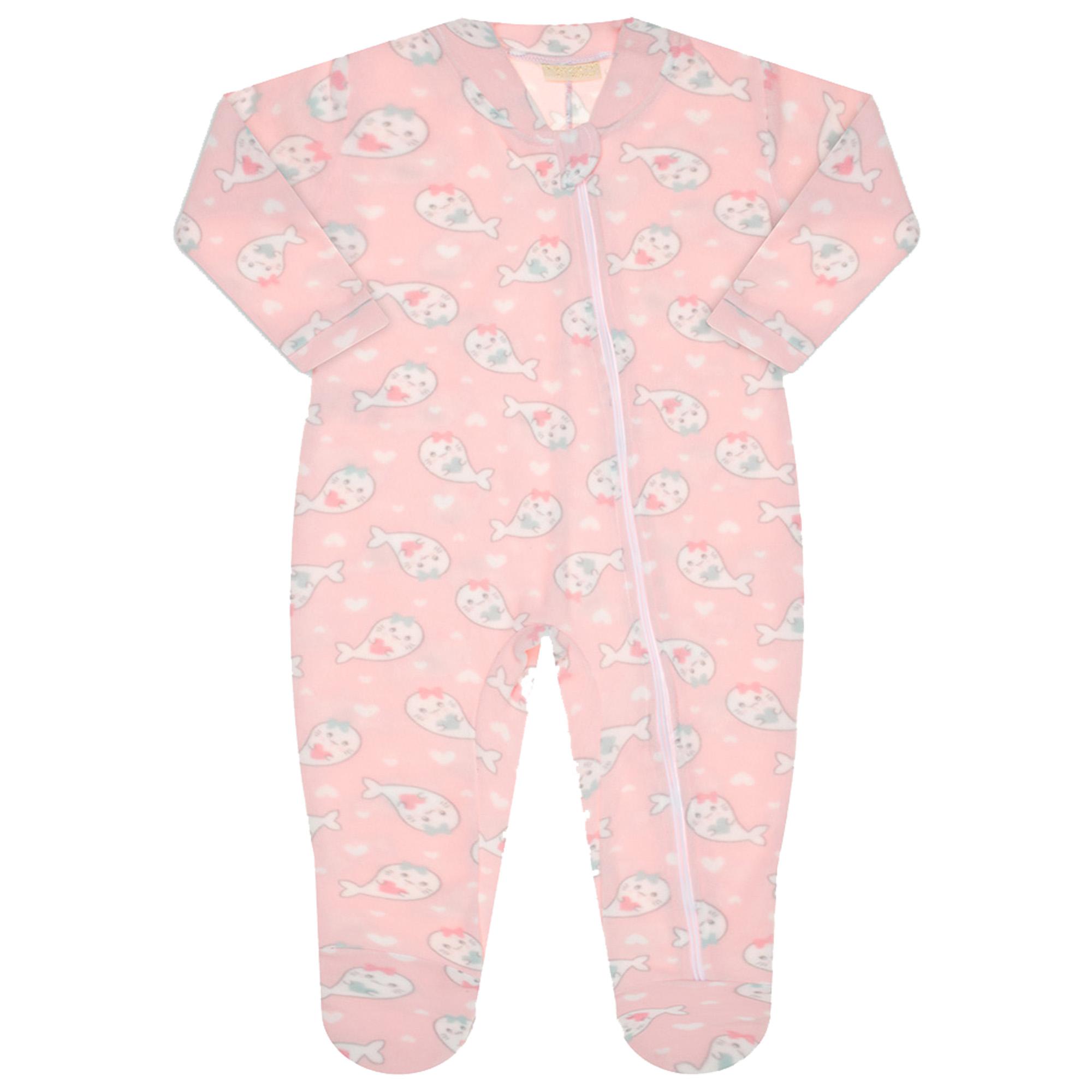 Macacão Pijama Inverno Vrasalon Soft Baleinhas - P ao G