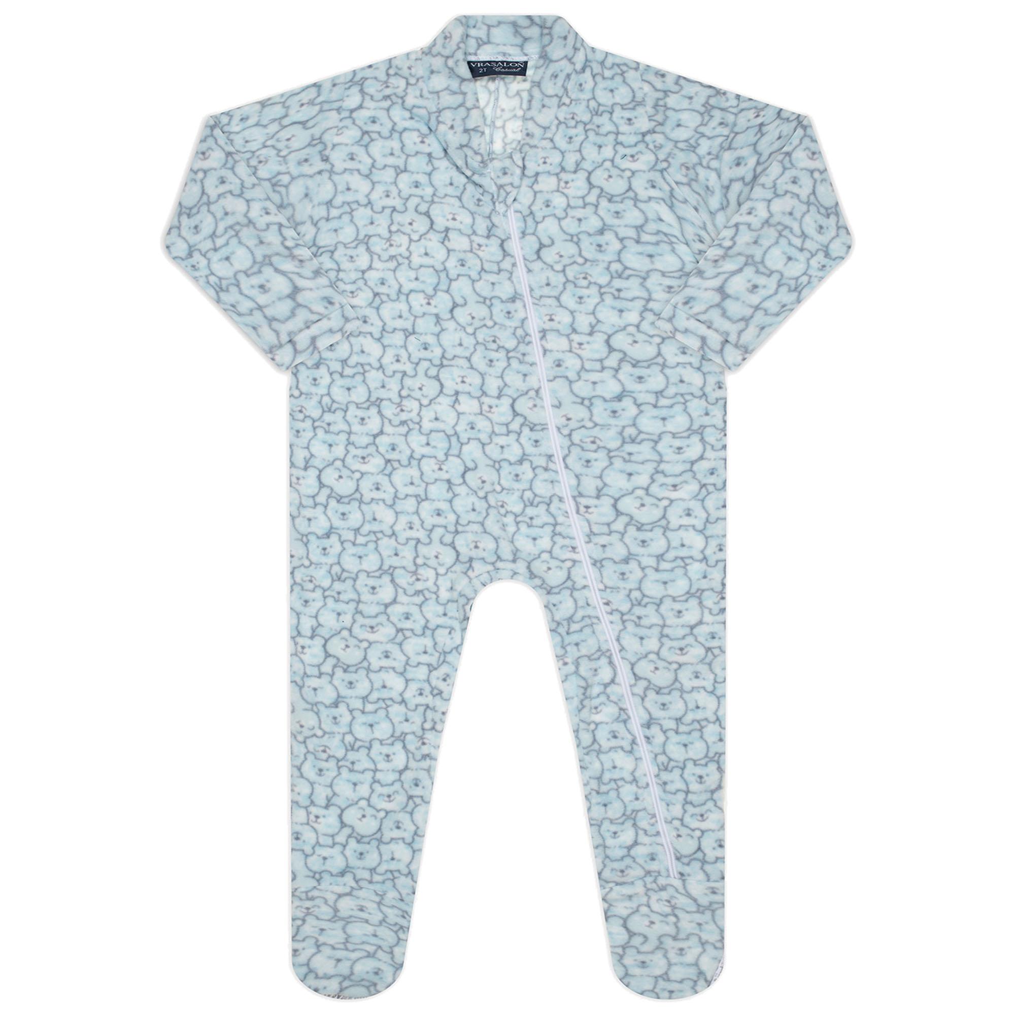 Macacão Pijama Inverno Vrasalon Soft Ursinhos - 01 ao 03